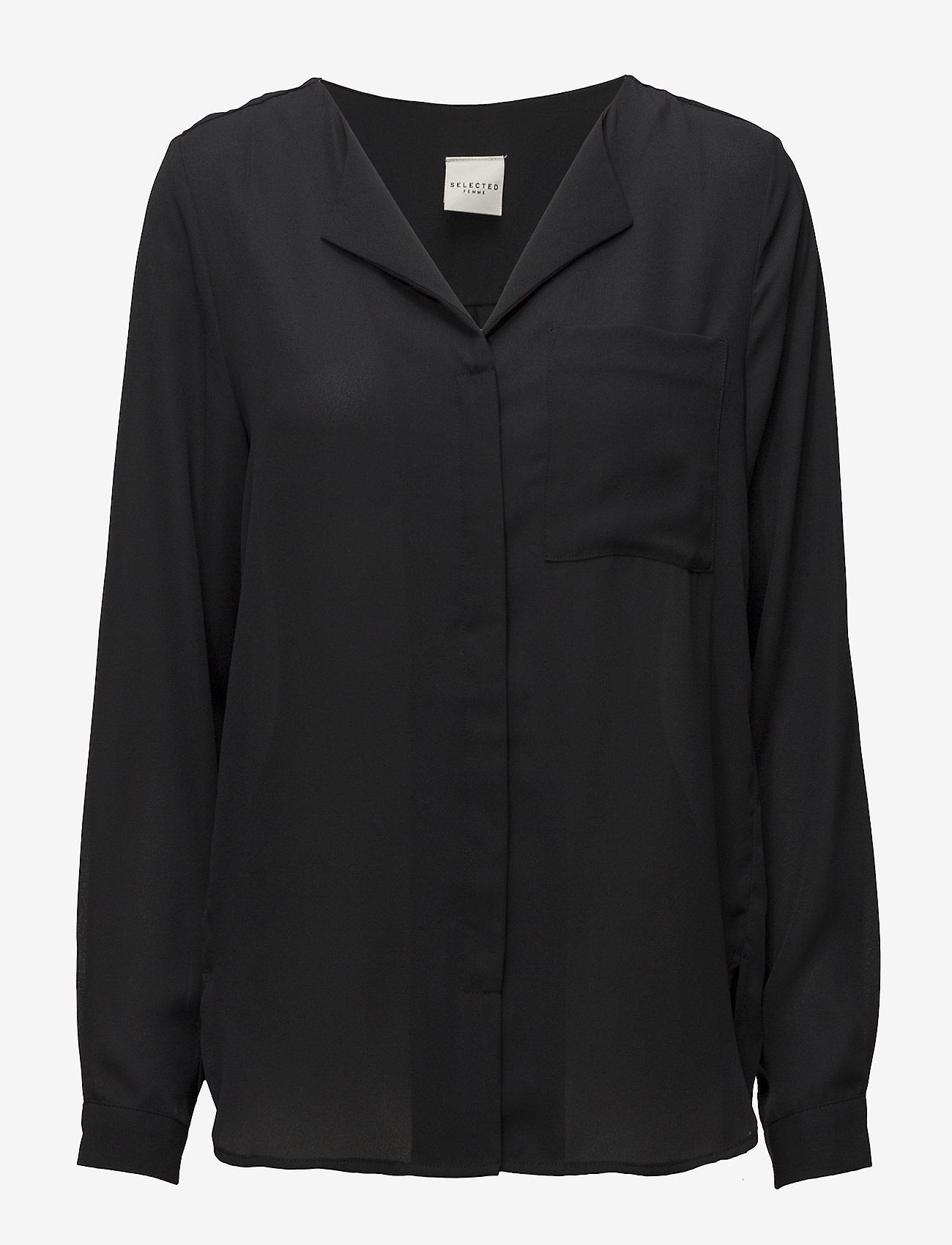 Selected Femme - SLFDYNELLA LS SHIRT NOOS - bluzki dlugim rekawem - black