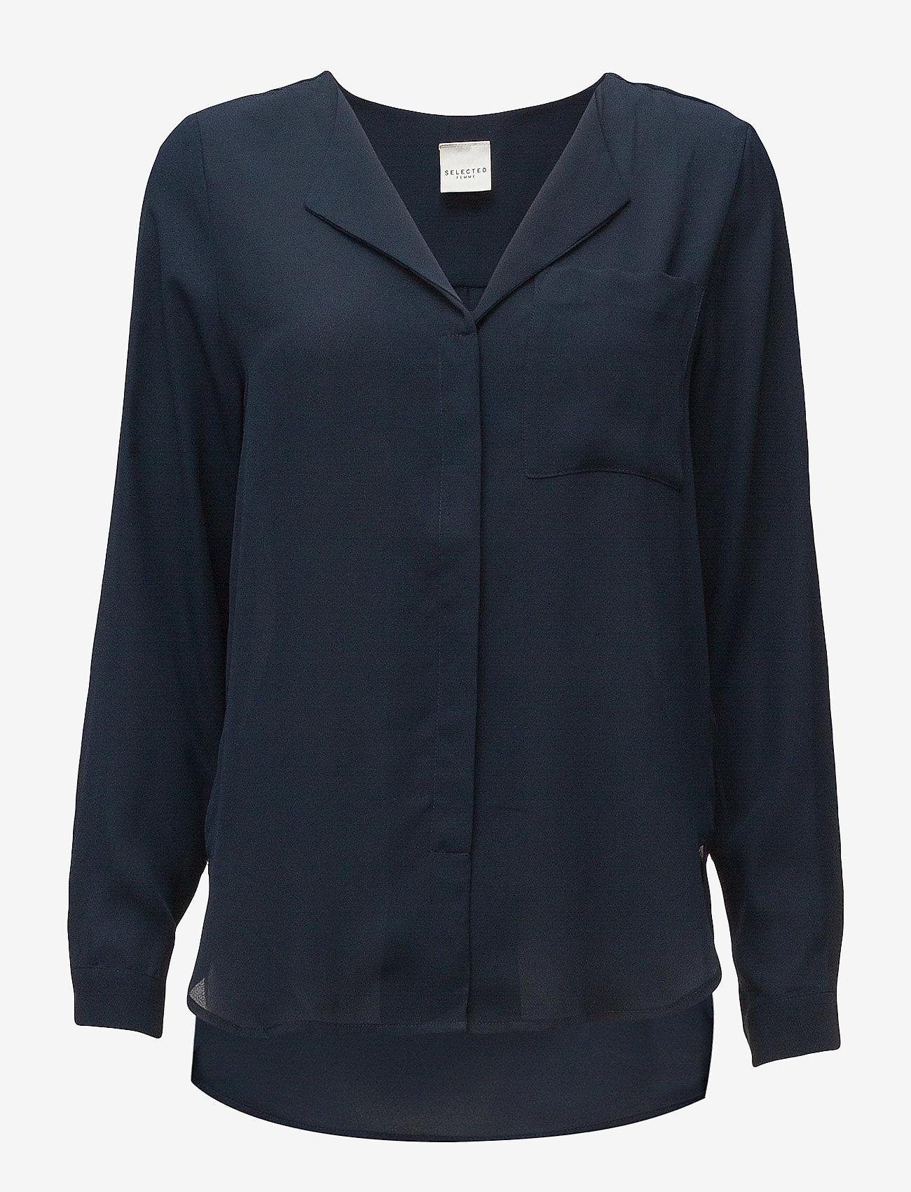 Selected Femme - SLFDYNELLA LS SHIRT NOOS - long sleeved blouses - navy blazer - 0