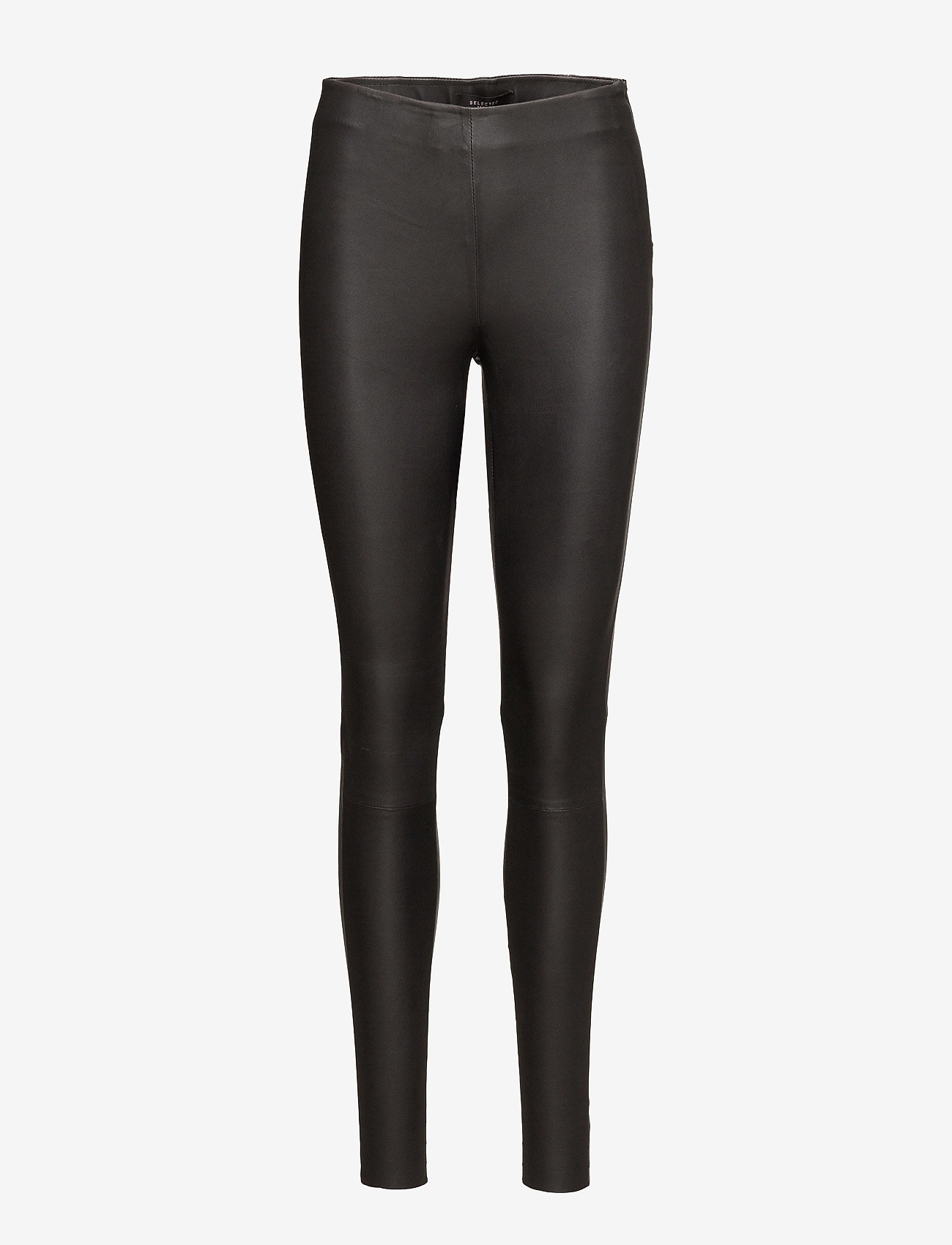 Selected Femme - SLFSYLVIA MW STRETCH LEATHER LEGGIN NOOS - læderbukser - black - 0