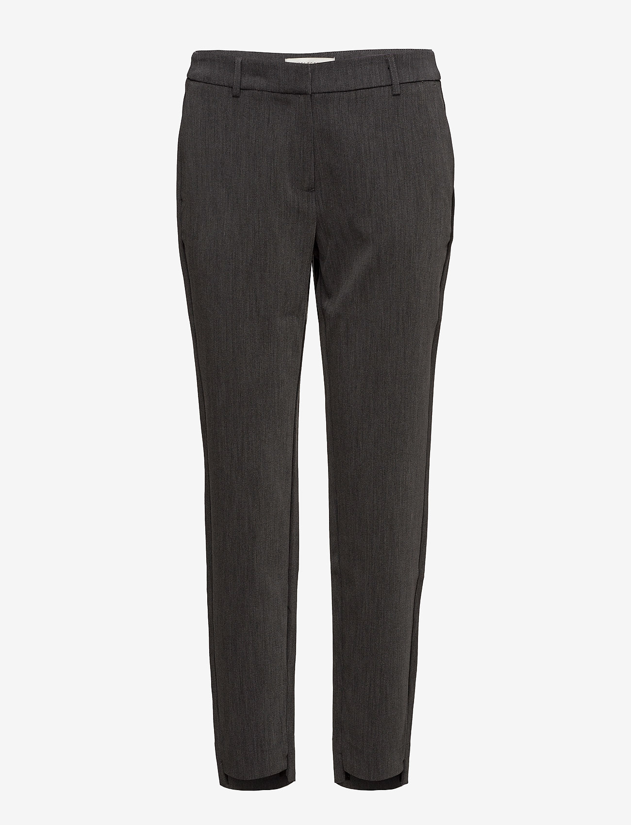 Selected Femme - SLFAMILA MW PANT NOOS - straight leg trousers - dark grey melange - 0