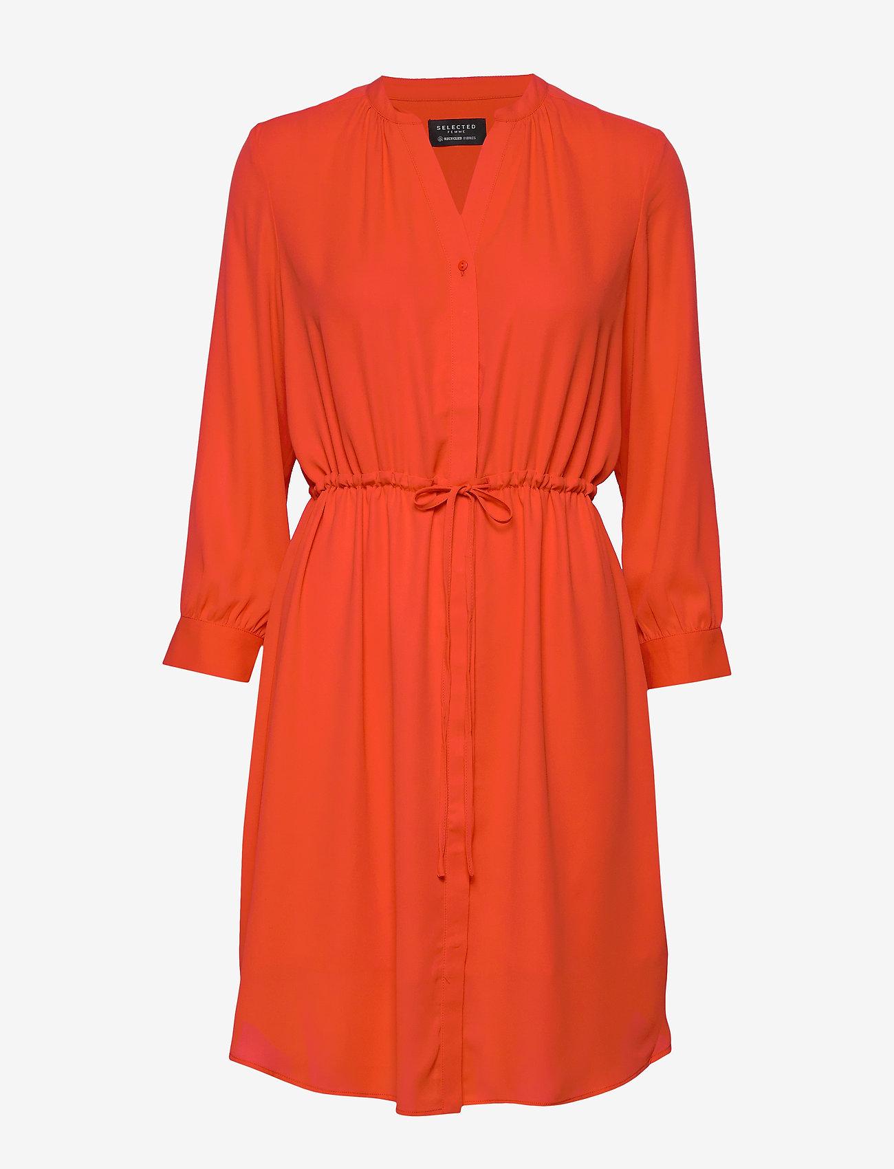 Selected Femme - SLFDAMINA 7/8 DRESS B - robes midi - orange.com - 0