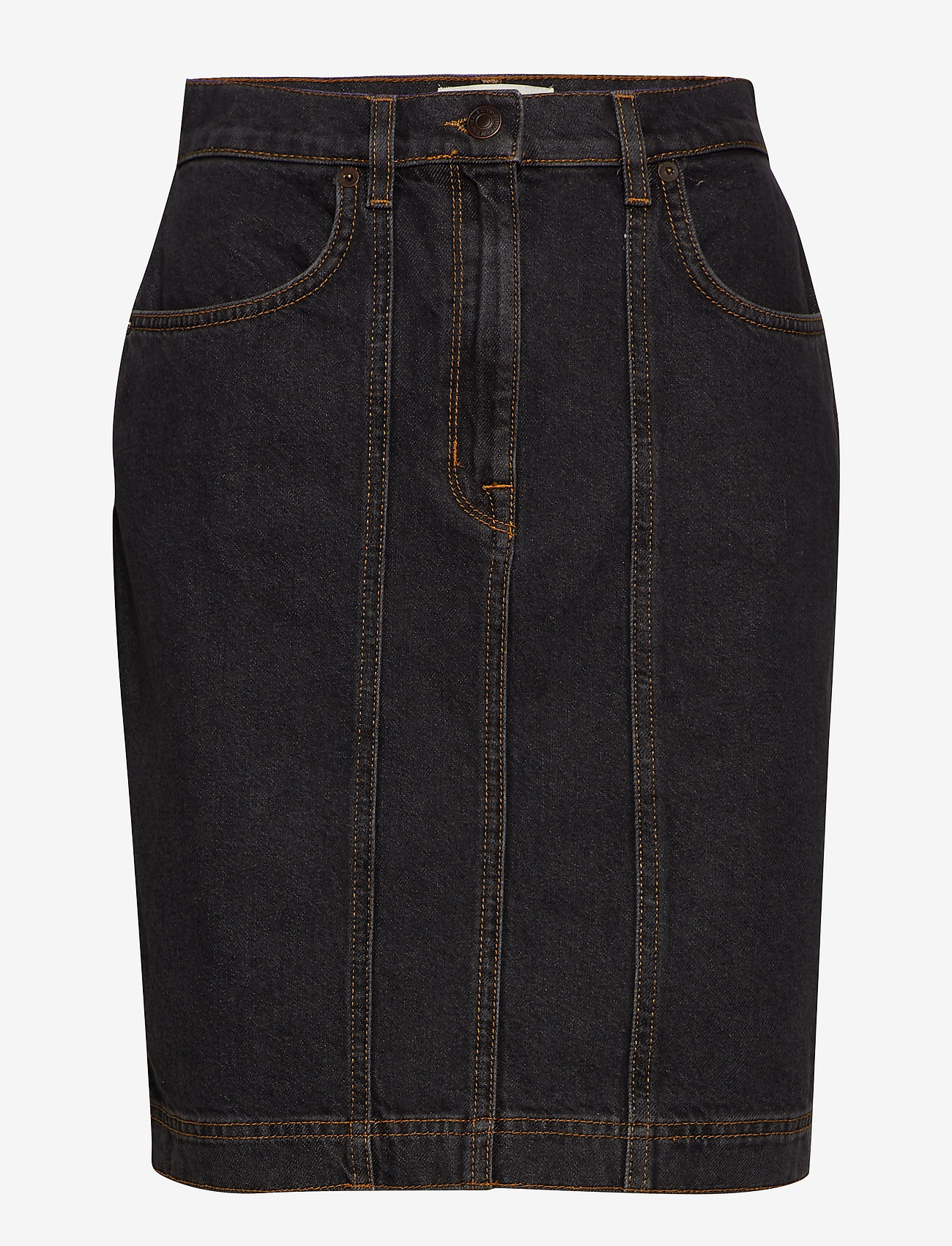 Selected Femme - SLFJOY HW DARK GREY DENIM SKIRT W - denimnederdele - grey denim - 0