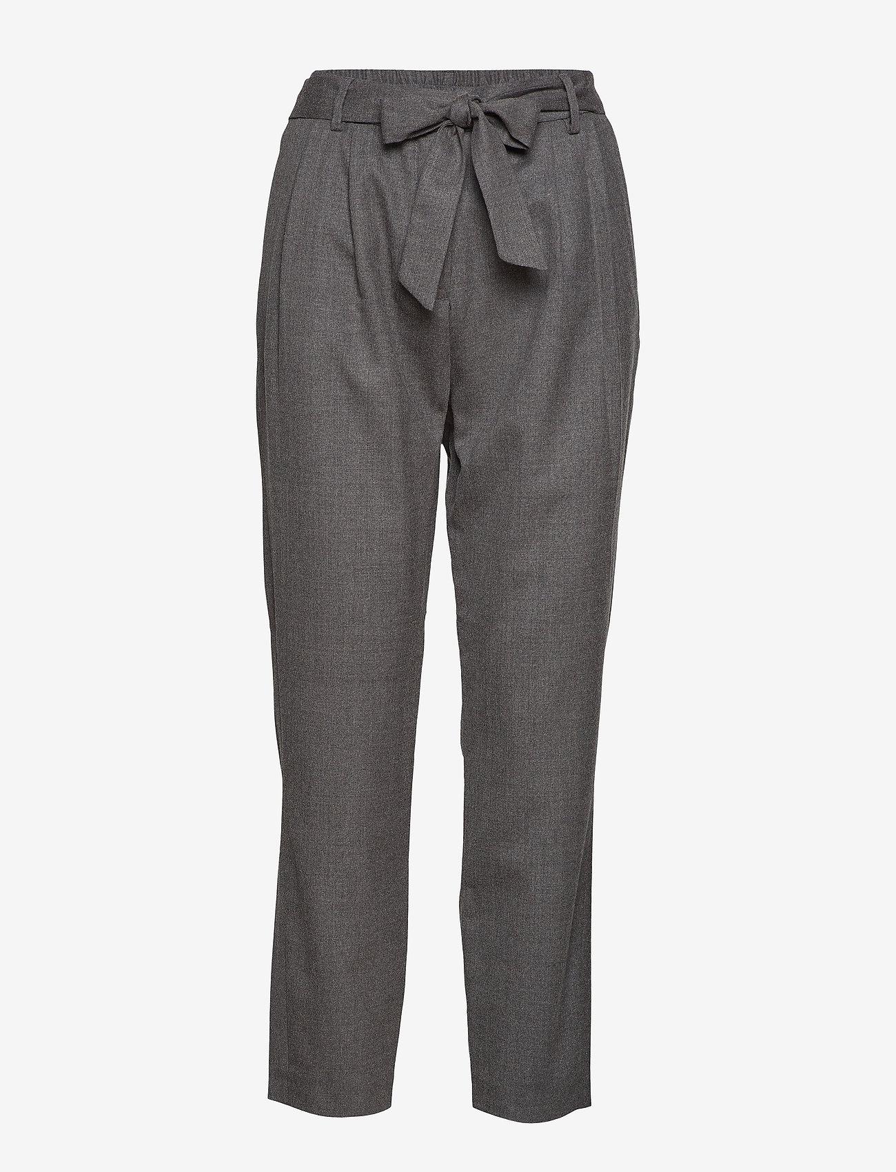 Selected Femme - SLFBIO MW CROPPED WOOL PANT B - straight leg trousers - medium grey melange