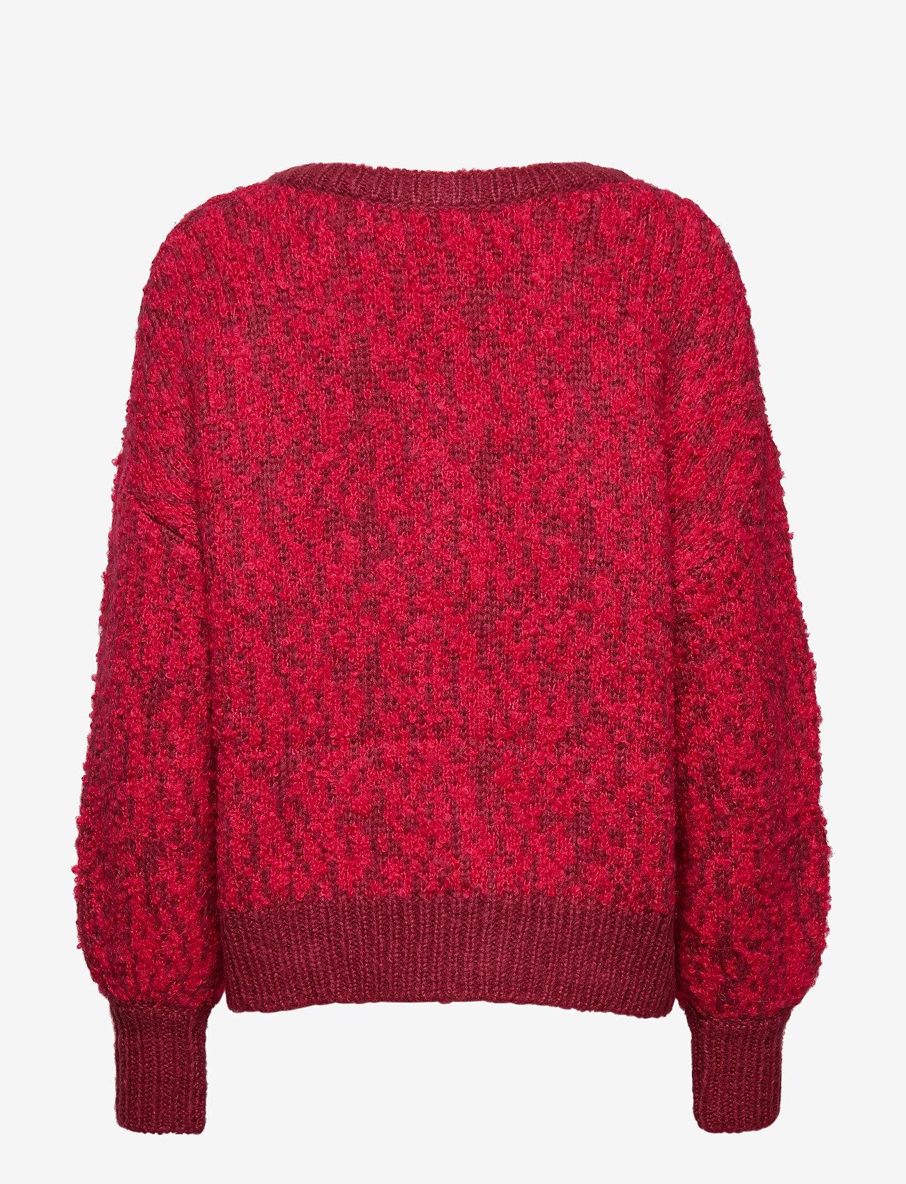 Selected Femme - SLFGABA LS KNIT V-NECK B - jumpers - beet red