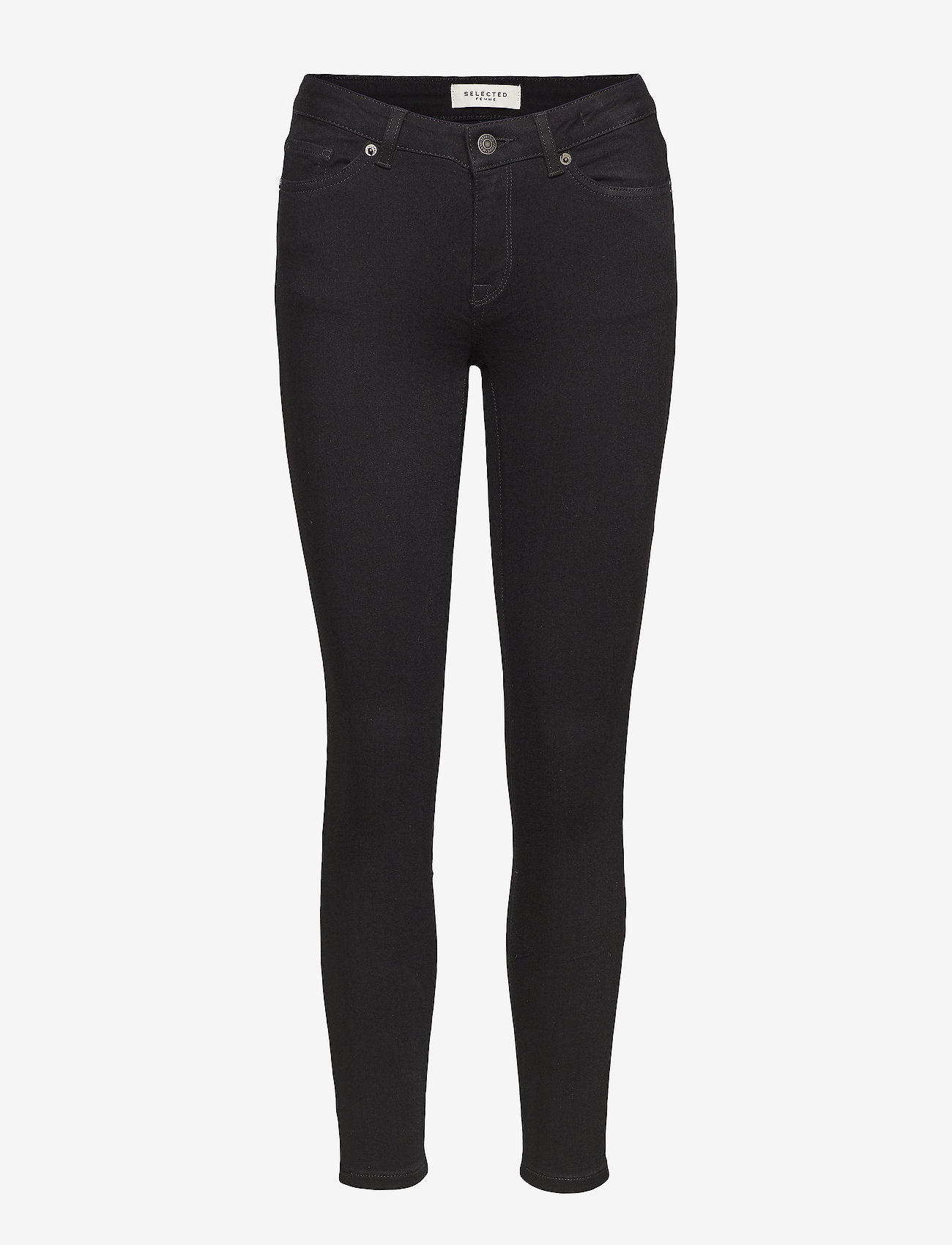 Selected Femme - SLFIDA MW SKINNY  BLACK JEANS W - skinny jeans - black denim - 0