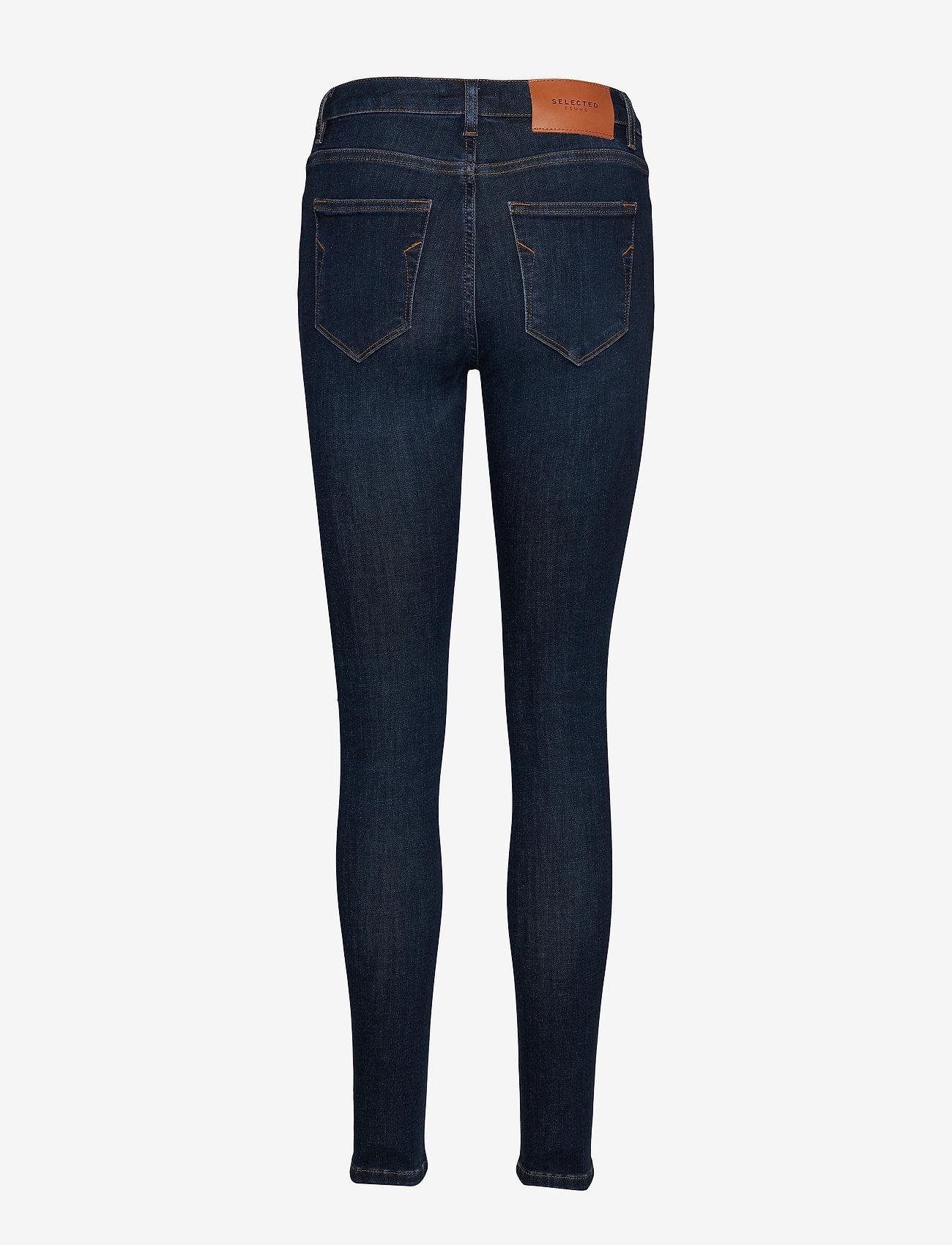Selected Femme - SLFIDA MW SKINNY DARK BLUE JEANS U - skinny jeans - dark blue denim - 1