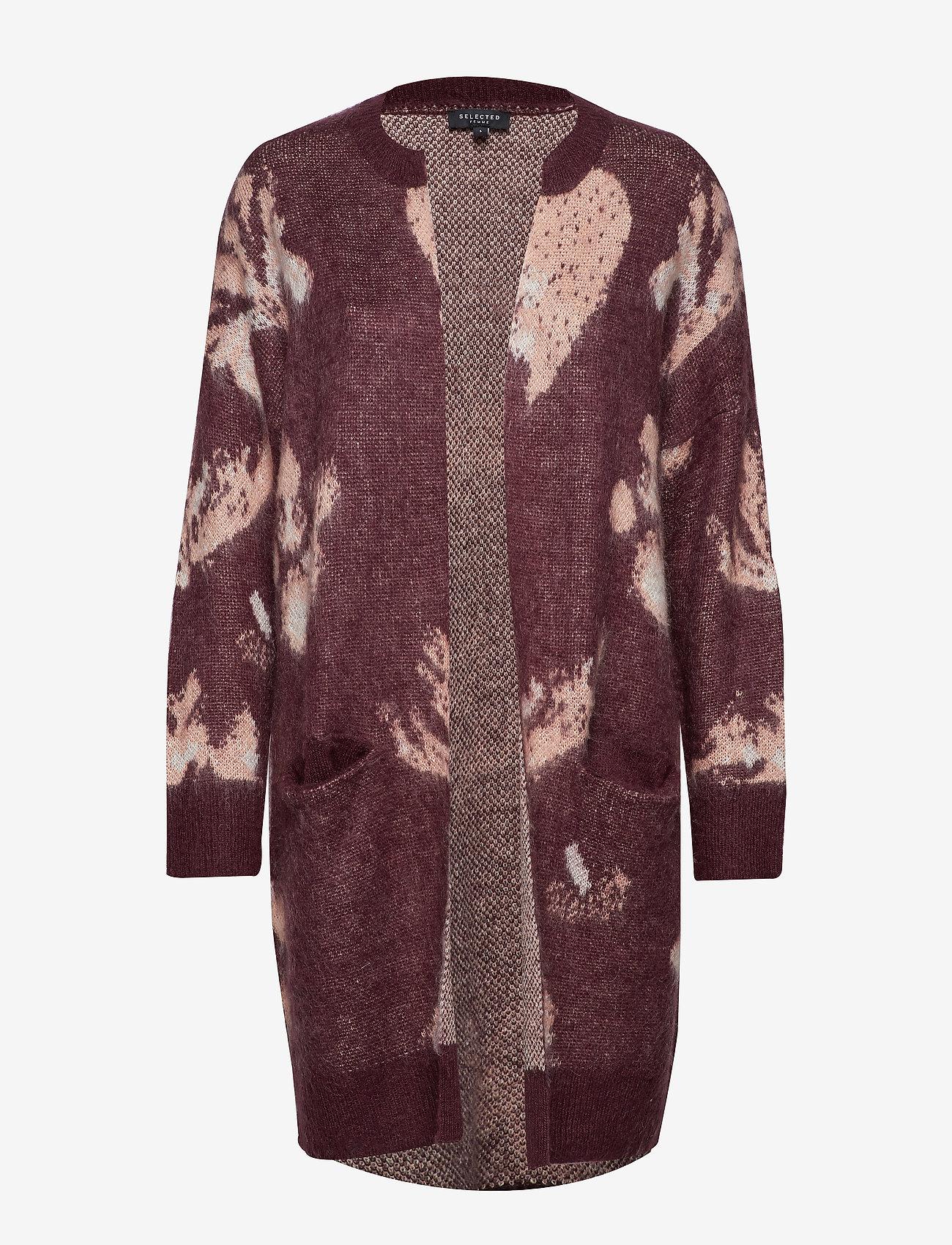 Selected Femme - SLFRILEY LS KNIT CARDIGAN B - cardigans - decadent chocolate