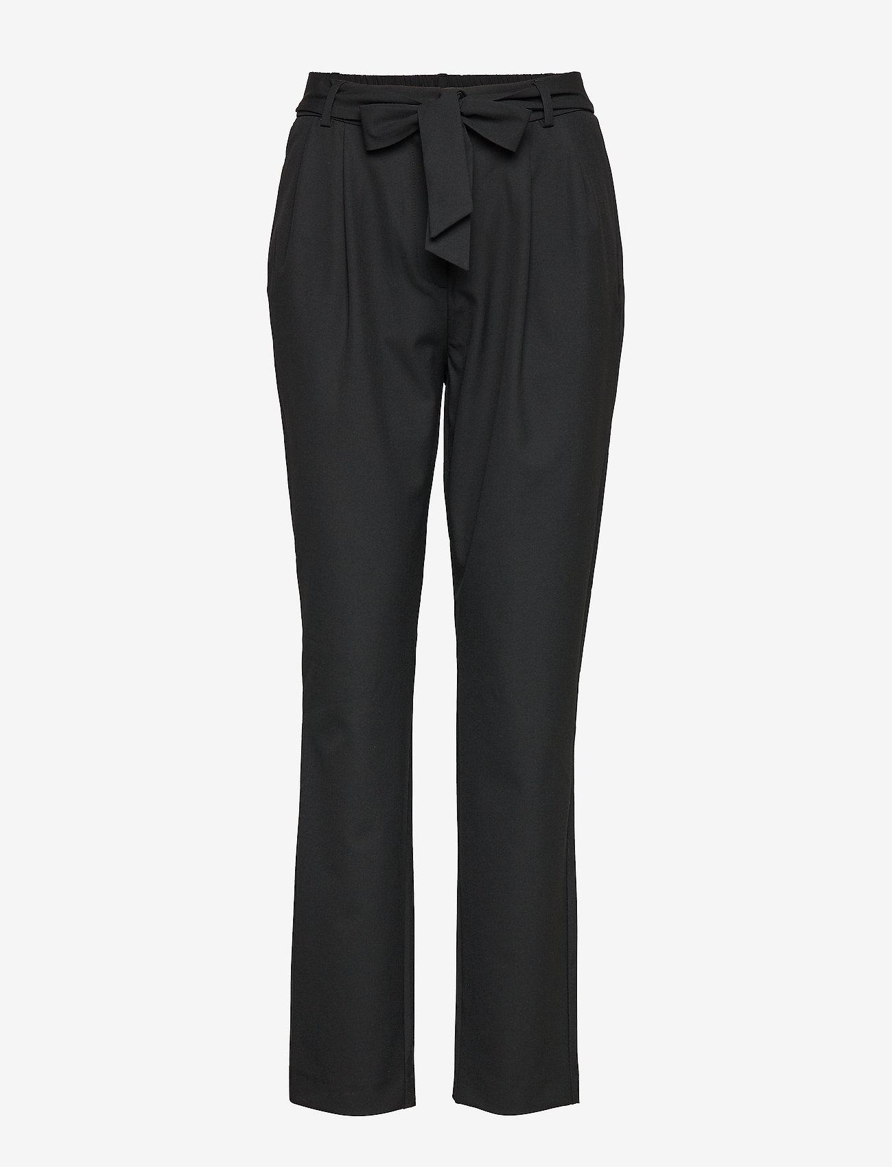 Selected Femme - SLFBIO KIPAS MW PANT NOOS - straight leg trousers - black - 0