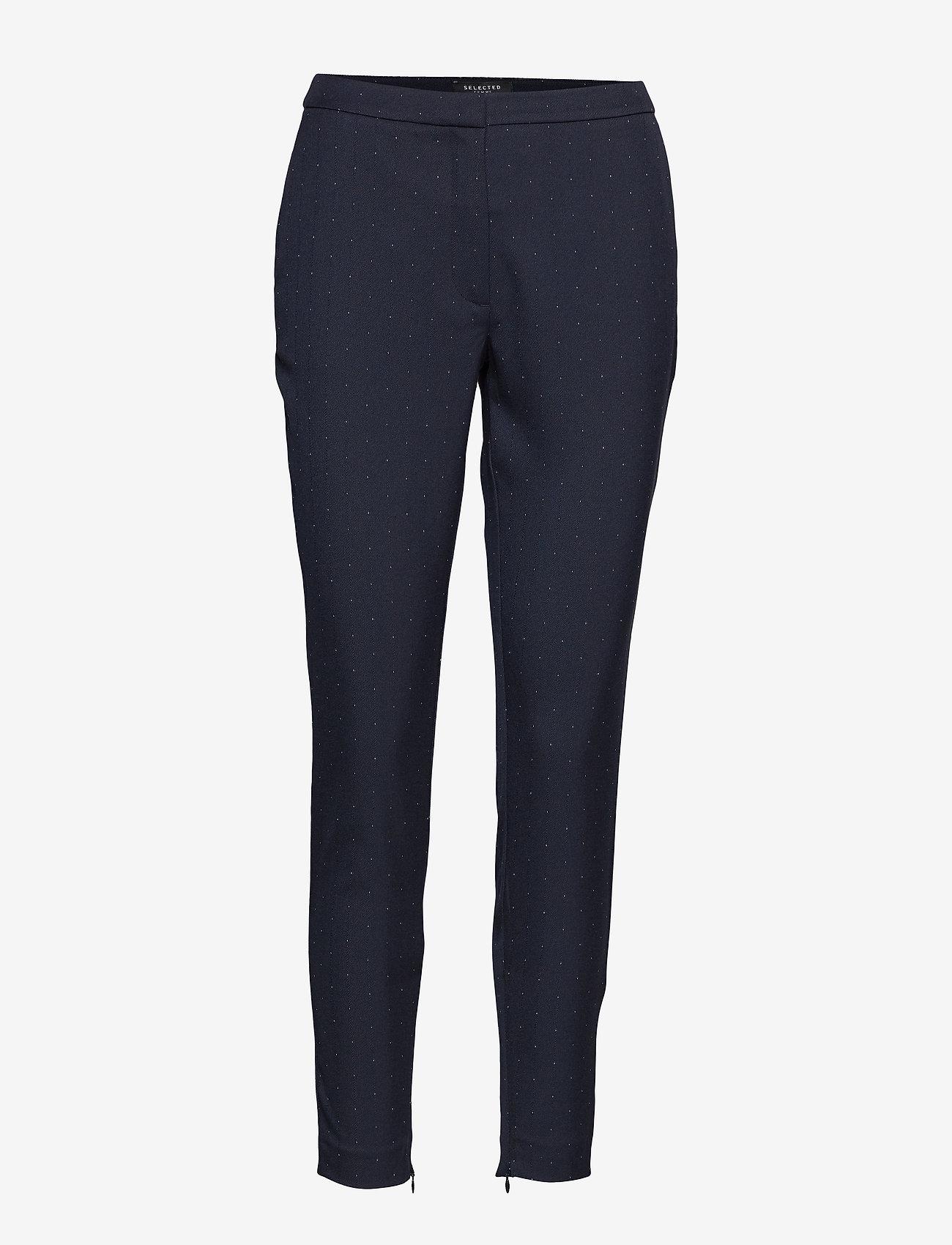 Selected Femme - SLFMUSE MW CROPPED  PANT DOT B - slim fit broeken - dark sapphire - 0
