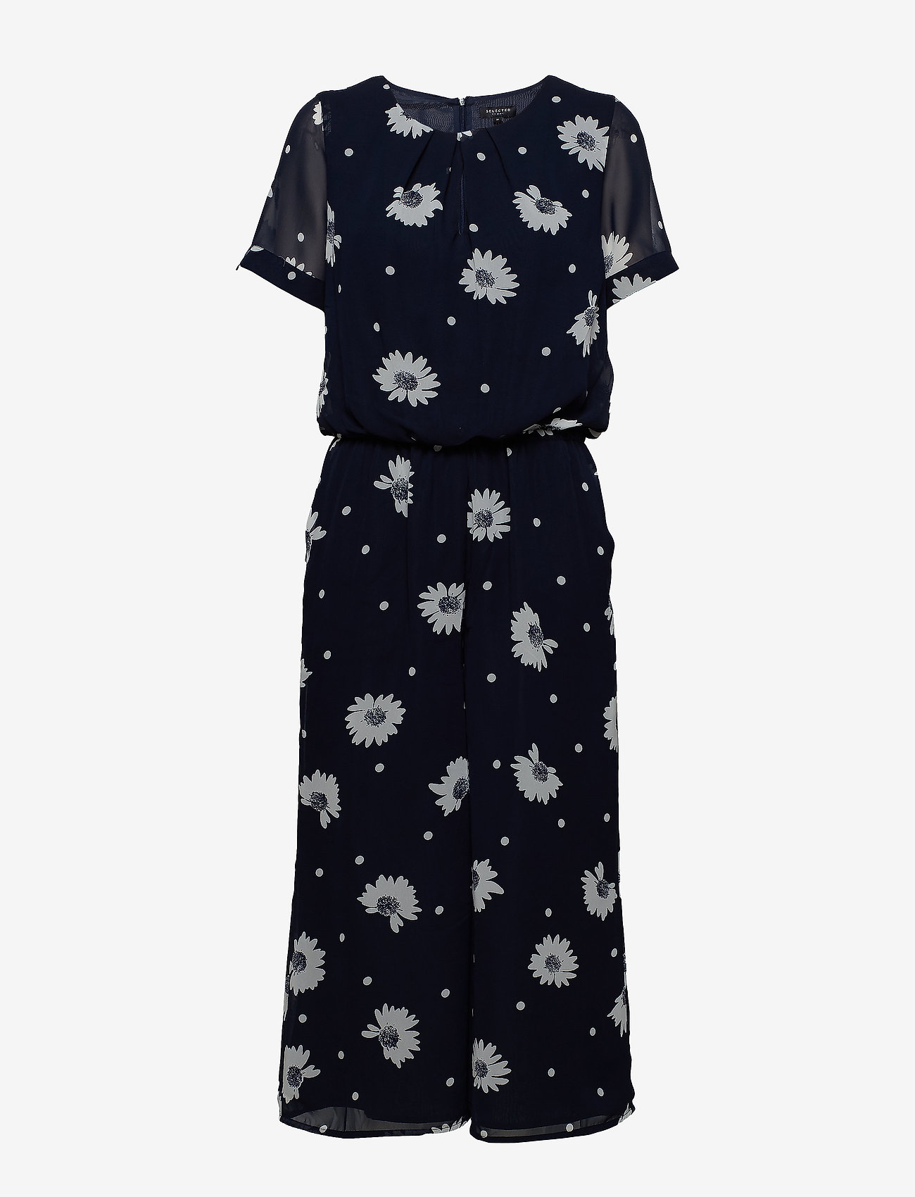 Selected Femme - SLFORIANA SS CROPPED JUMPSUIT B - jumpsuits - dark sapphire - 0