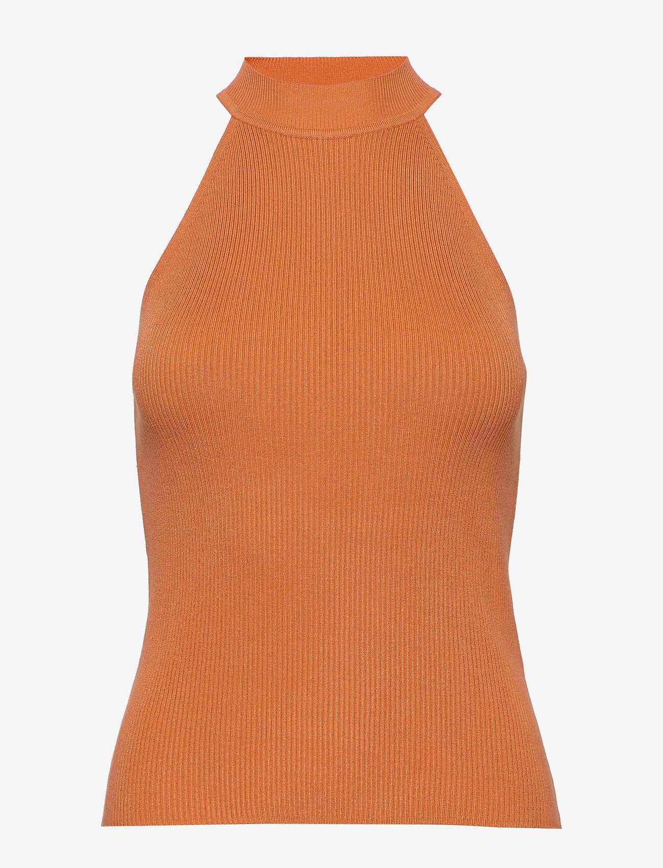 Selected Femme - SLFSOLITA SL KNIT TOP B - knitted tops & t-shirts - caramel