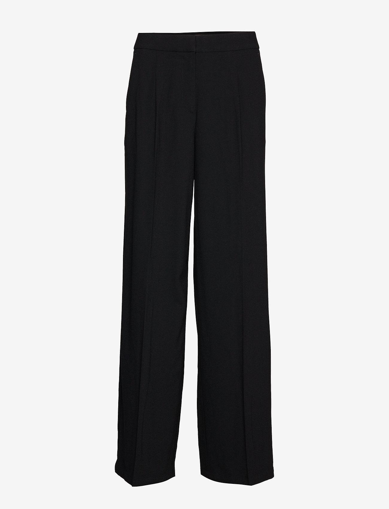 Selected Femme - SLFTINNI MW WIDE PANT B NOOS - uitlopende broeken - black - 0
