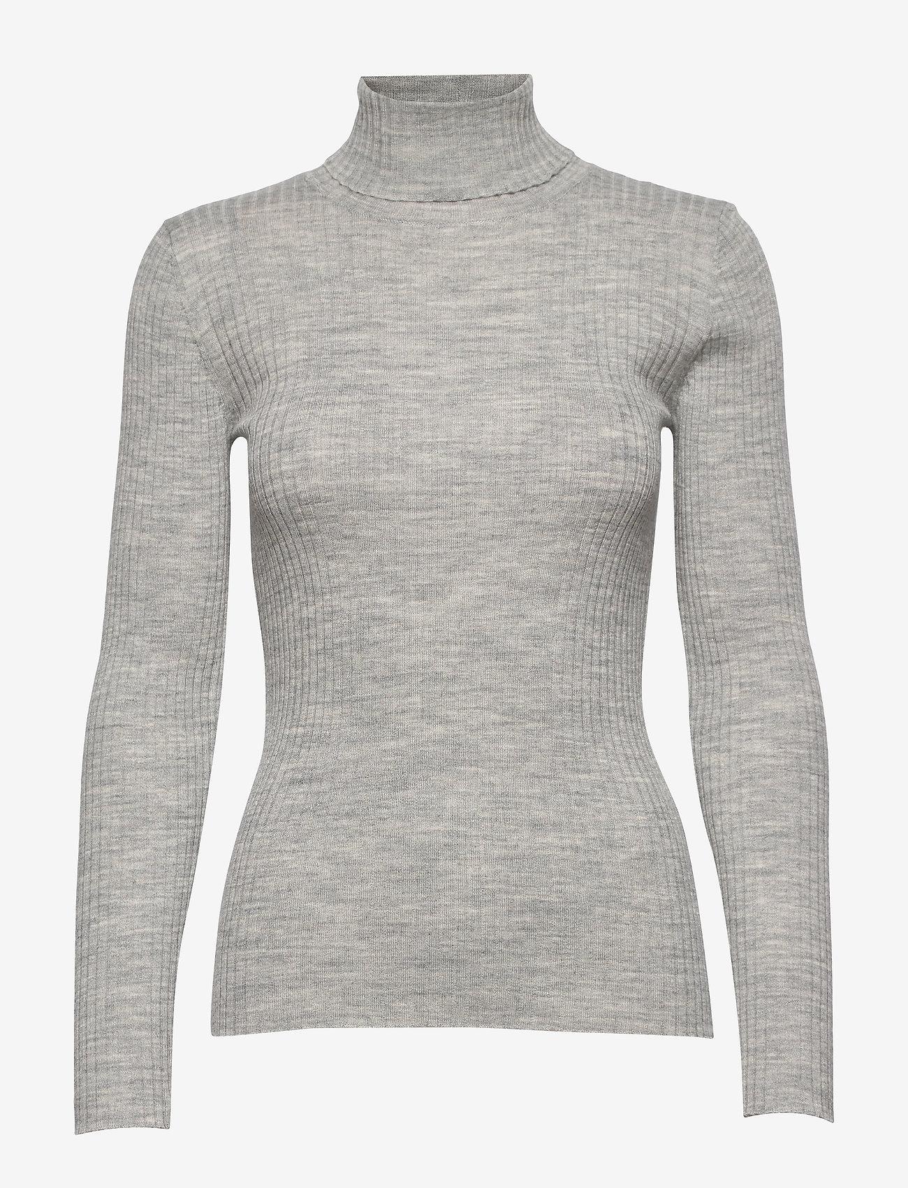 Selected Femme - SLFCOSTA LS KNIT RIB ROLLNECK NOOS B - turtlenecks - light grey melange - 0