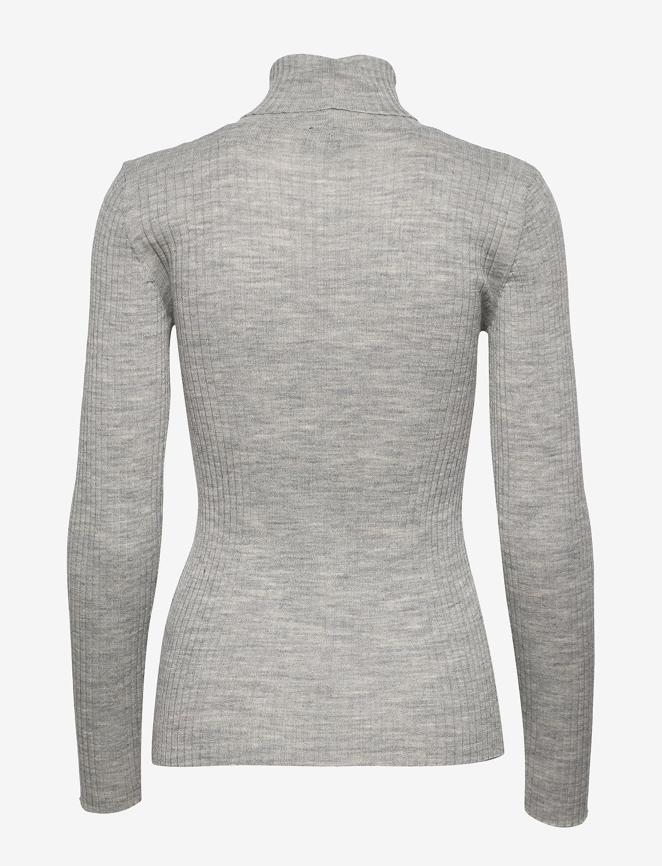 Selected Femme - SLFCOSTA LS KNIT RIB ROLLNECK NOOS B - turtlenecks - light grey melange - 1