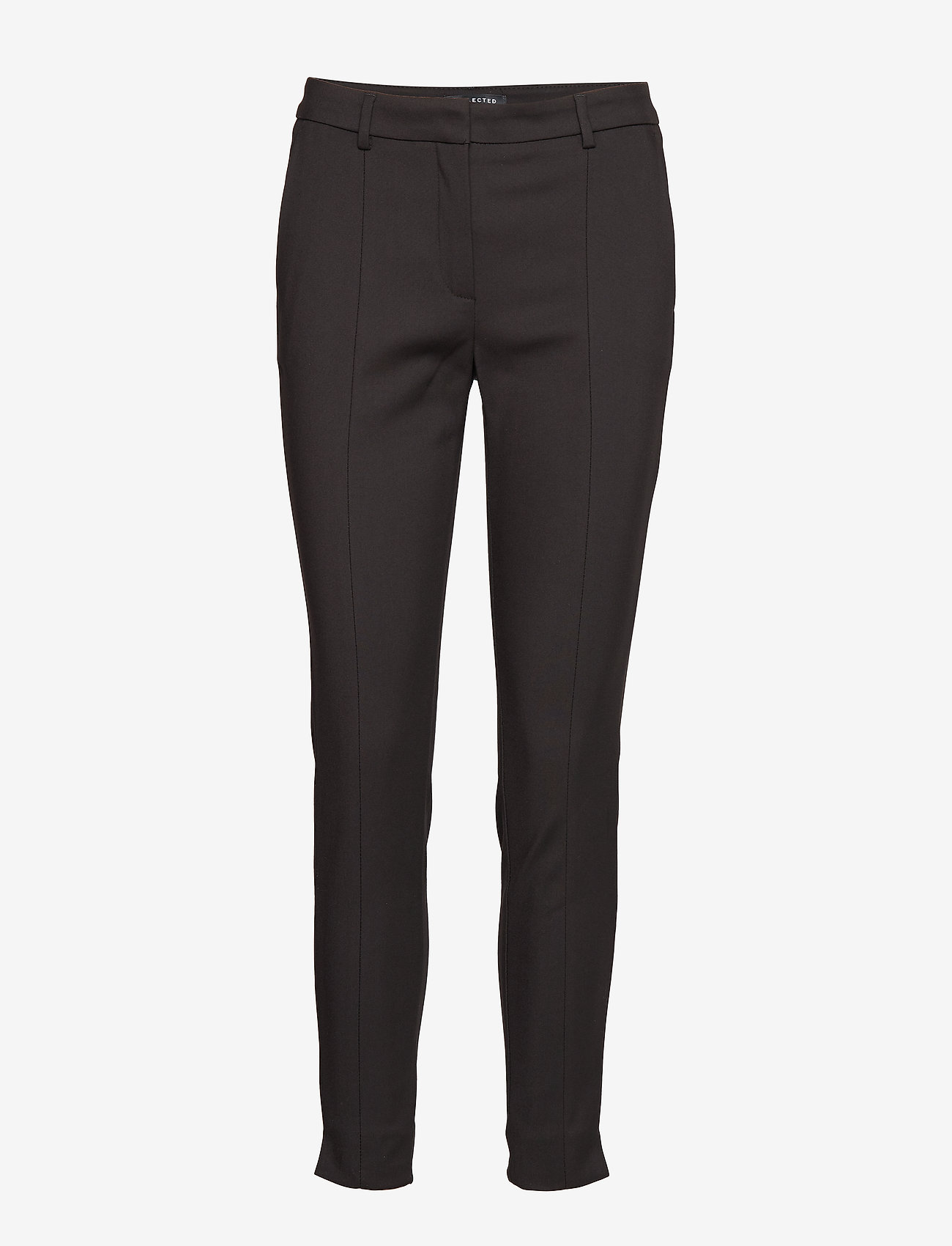 Selected Femme - SLFMUSE FIE CROPPED MW PANT BLACK B NOOS - straight leg trousers - black - 0
