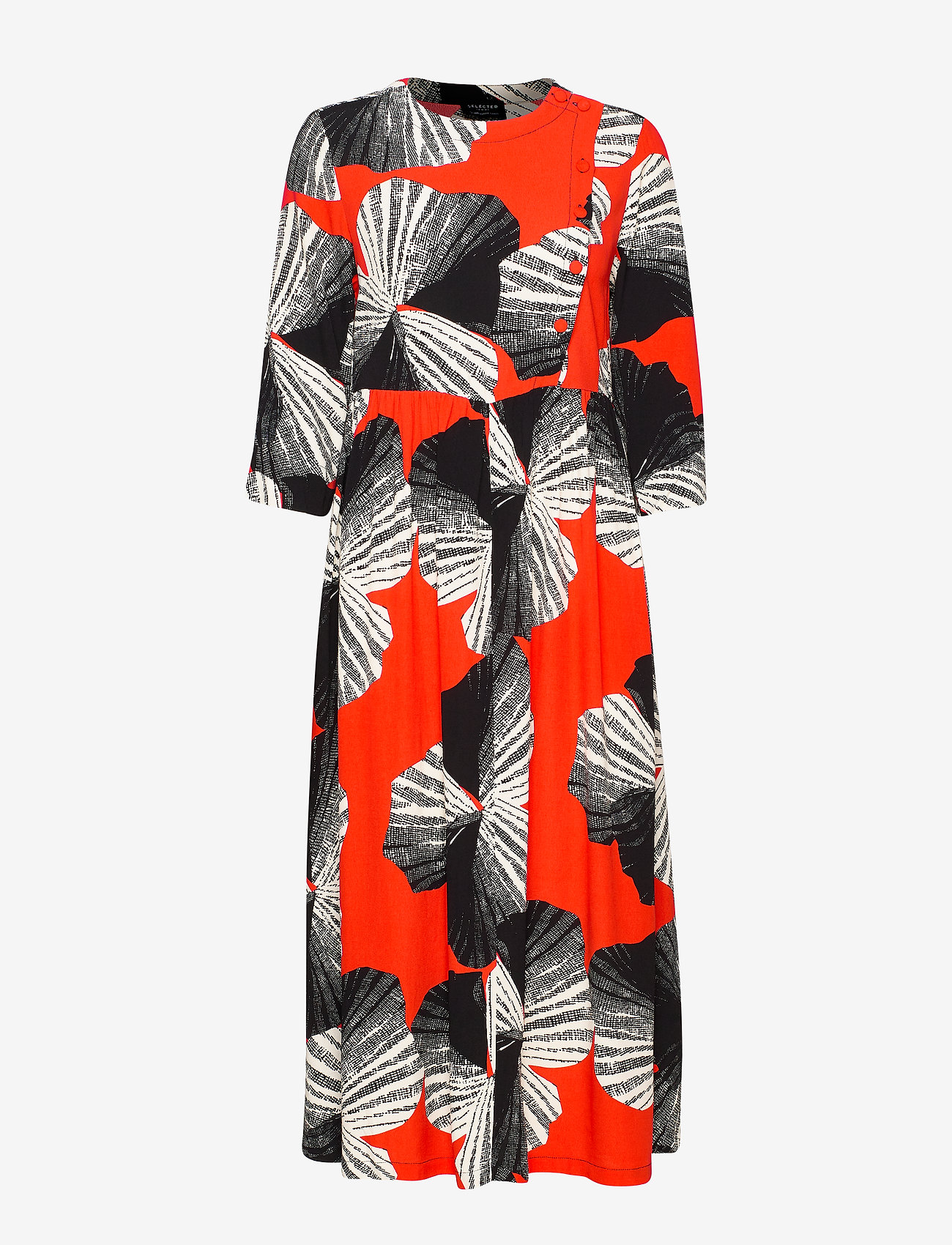 Selected Femme - SLFKAIRI 3/4 MIDI DRESS B - robes midi - orange.com - 0