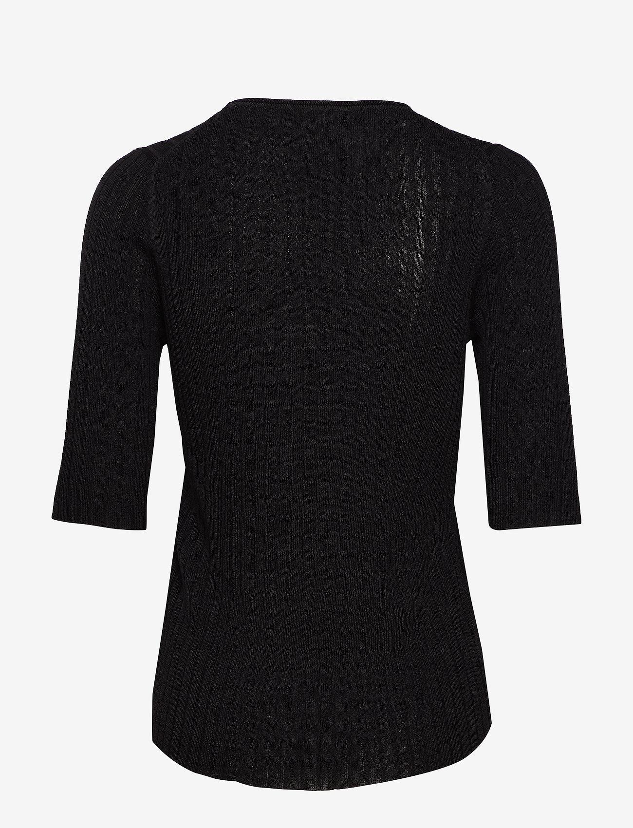 Selected Femme - SLFMARGE 2/4 KNIT RIB DEEP O-NECK B - neuletopit & t-paidat - black