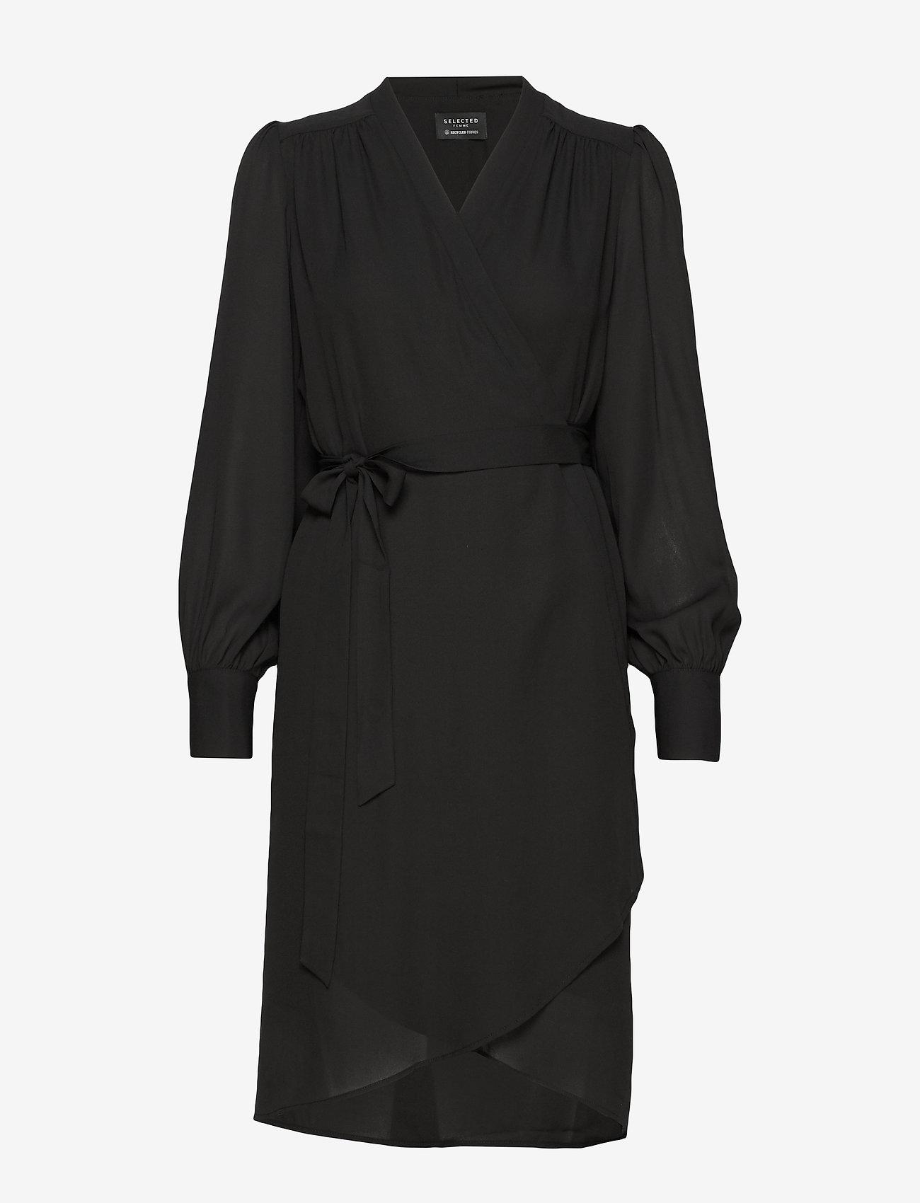 Selected Femme - SLFALVA LS WRAP DRESS NOOS - robes portefeuille - black - 0