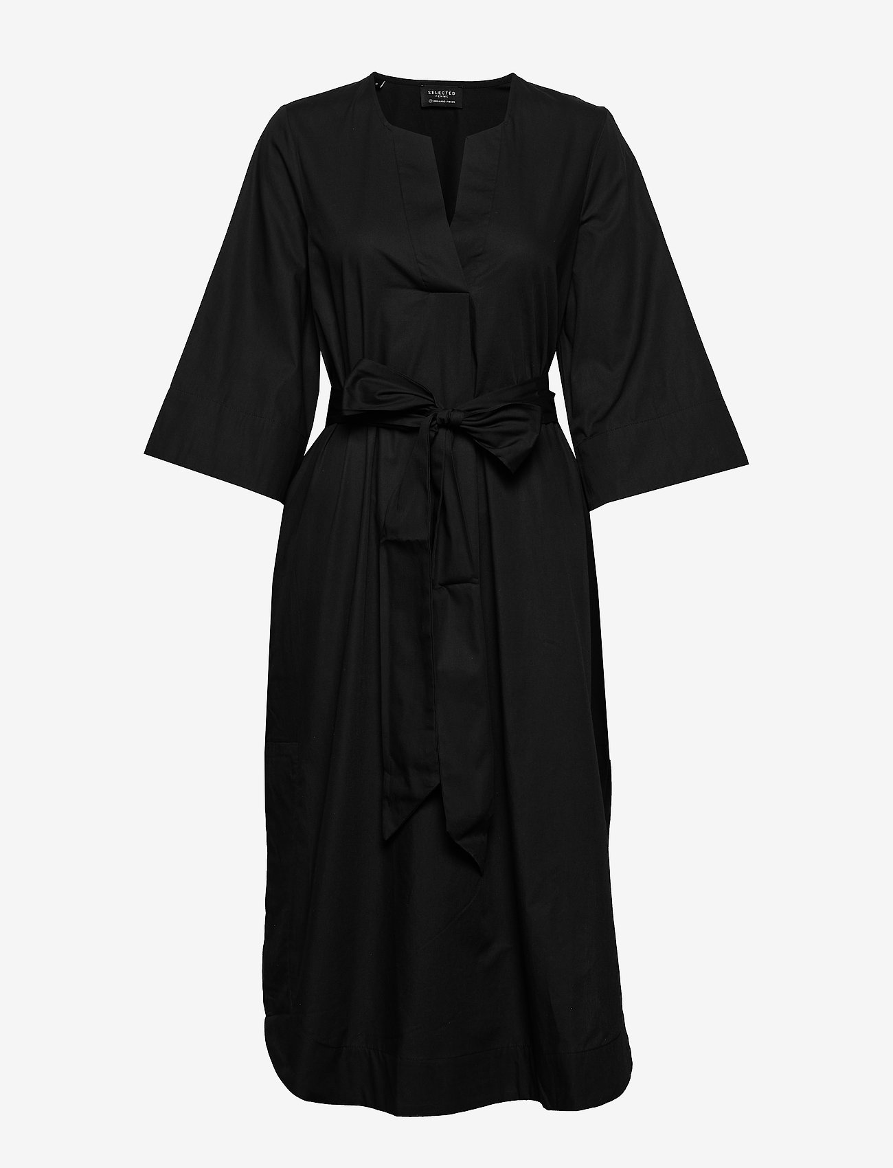 Selected Femme - SLFCARLOTTA 3/4 MIDI KAFTAN DRESS B - robes midi - black - 0