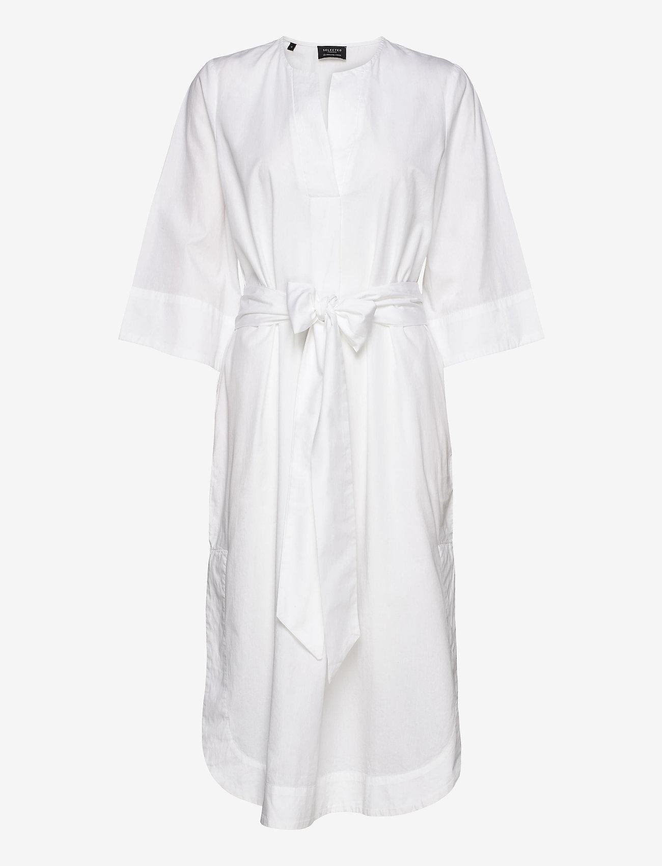 Selected Femme - SLFCARLOTTA 3/4 MIDI KAFTAN DRESS B - robes midi - snow white - 0
