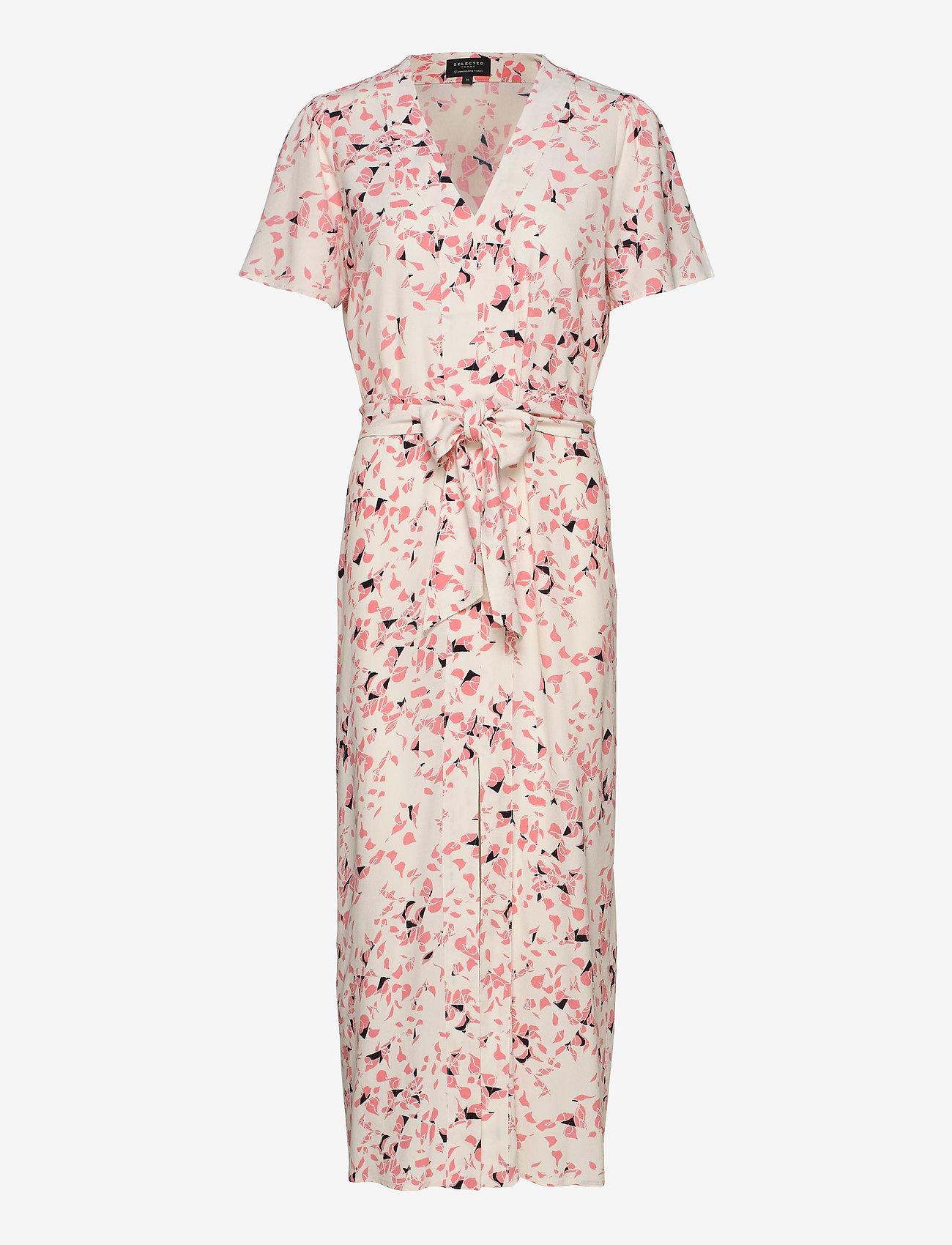 Selected Femme - SLFREBEKKA-DYNELLA 3/4 AOP ANKLE DRESS B - midi dresses - burnt coral