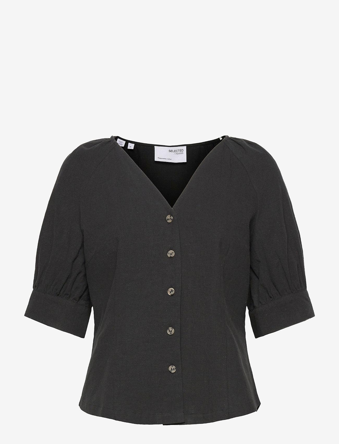 Selected Femme - SLFMALVINA 2/4 SHIRT - kurzämlige blusen - black - 0
