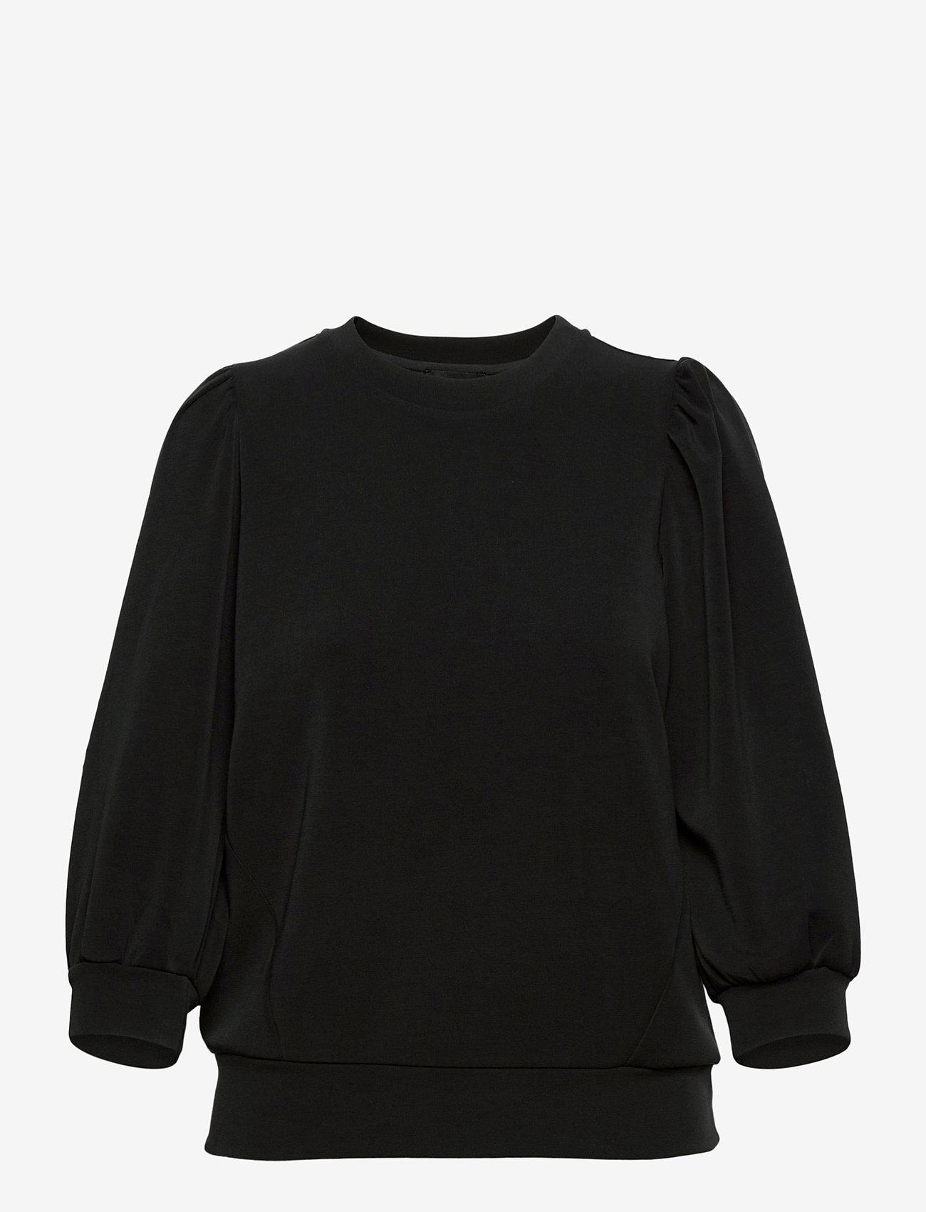 Selected Femme - SLFTENNY 3/4 SWEAT - sweatshirts - black - 0