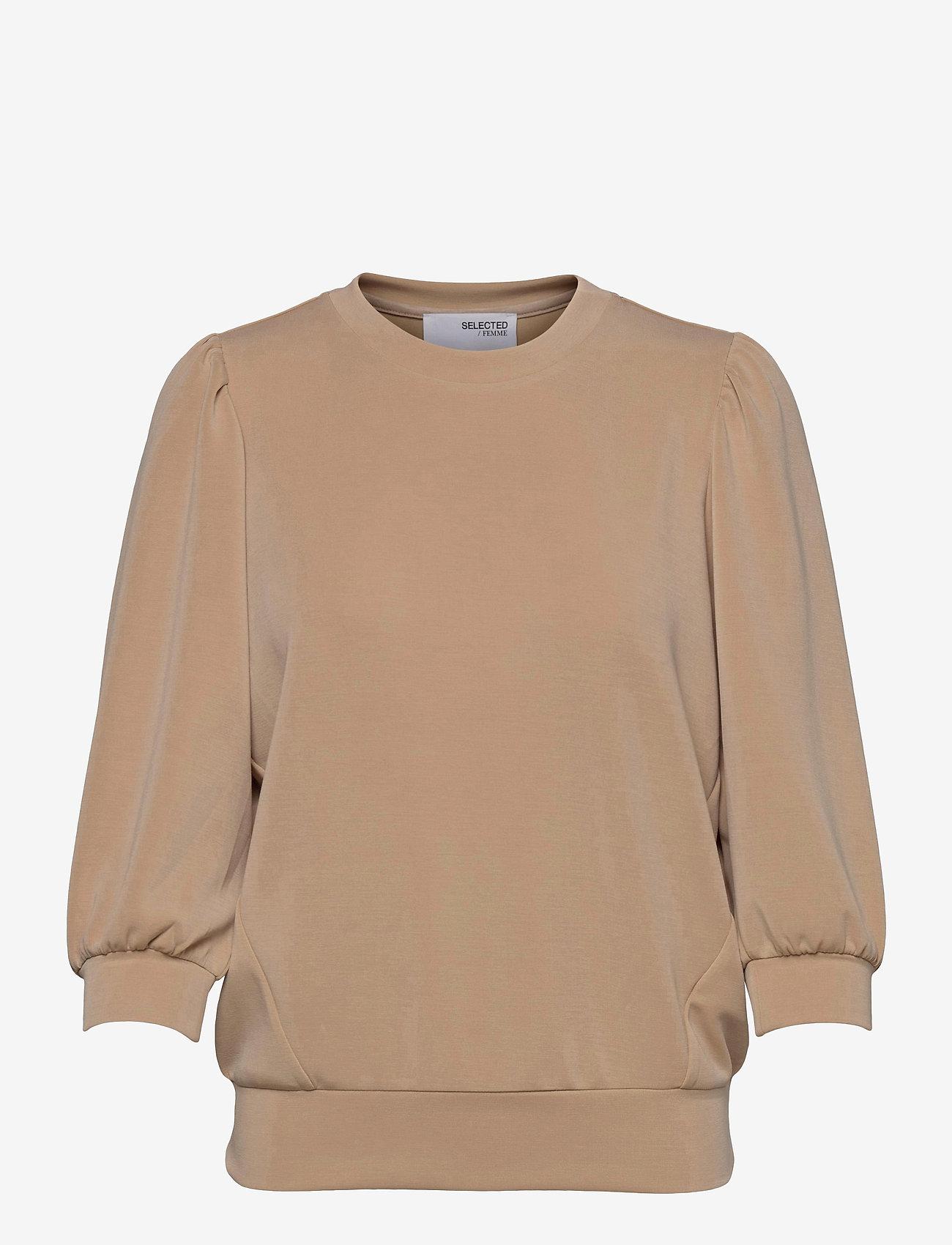Selected Femme - SLFTENNY 3/4 SWEAT - sweatshirts - nomad - 0