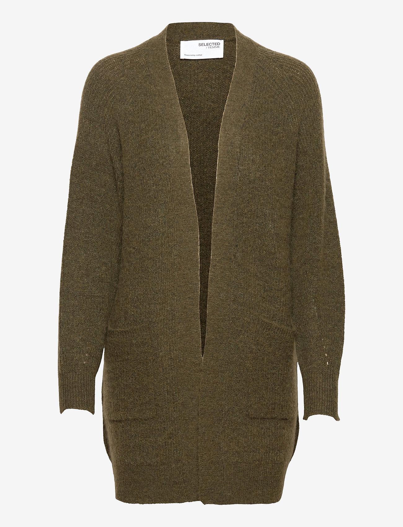 Selected Femme - SLFLULU LS KNIT LONG CARDIGAN - cardigans - kalamata - 0