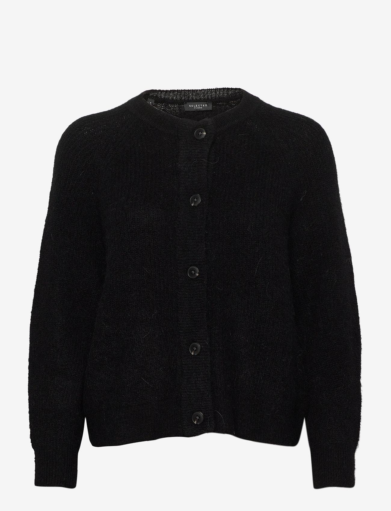 Selected Femme - SLFLULU LS KNIT SHORT CARDIGAN - cardigans - black - 0