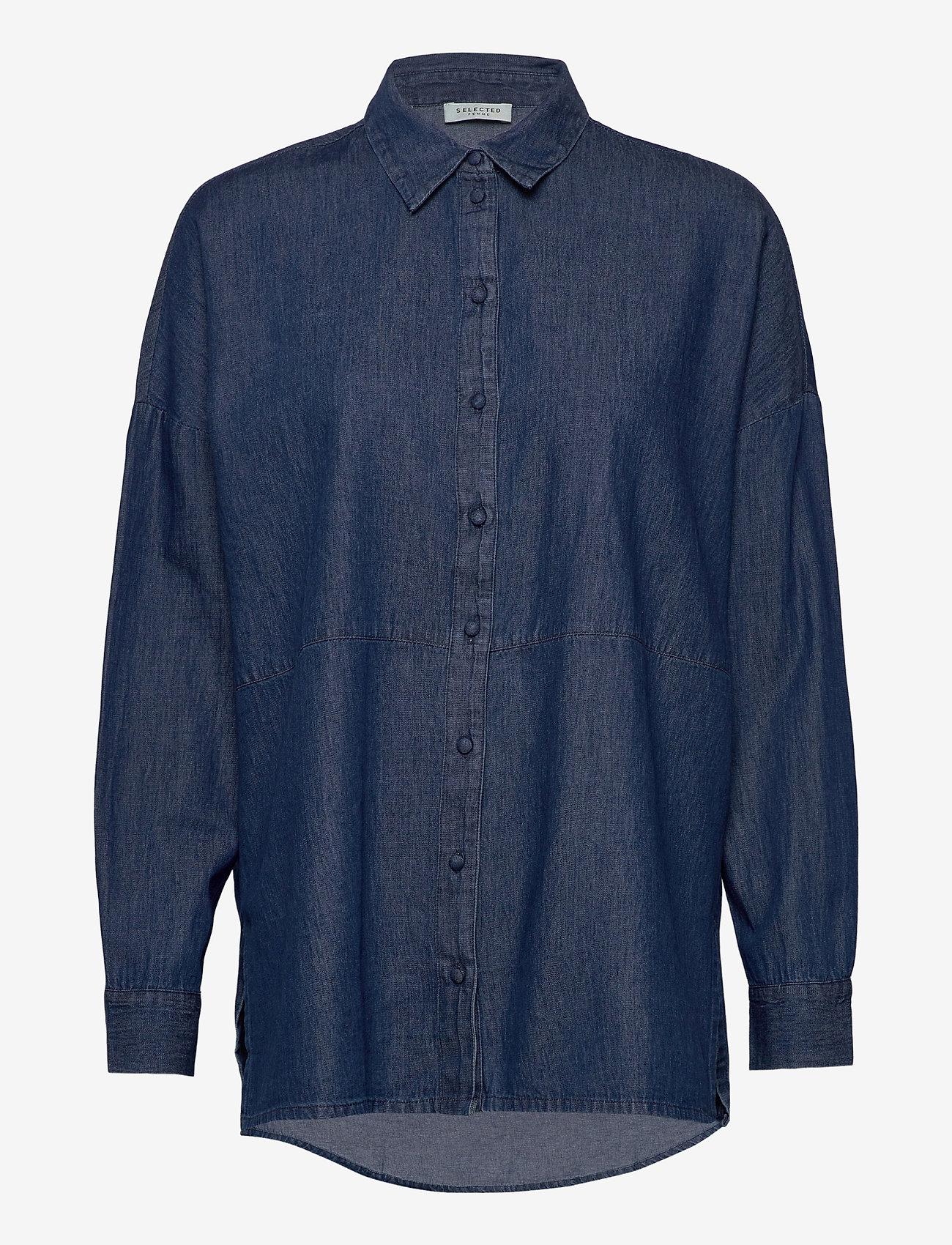 Selected Femme - SLFMIRANDA LS SLIT SHIRT W - jeansblouses - medium blue denim - 0