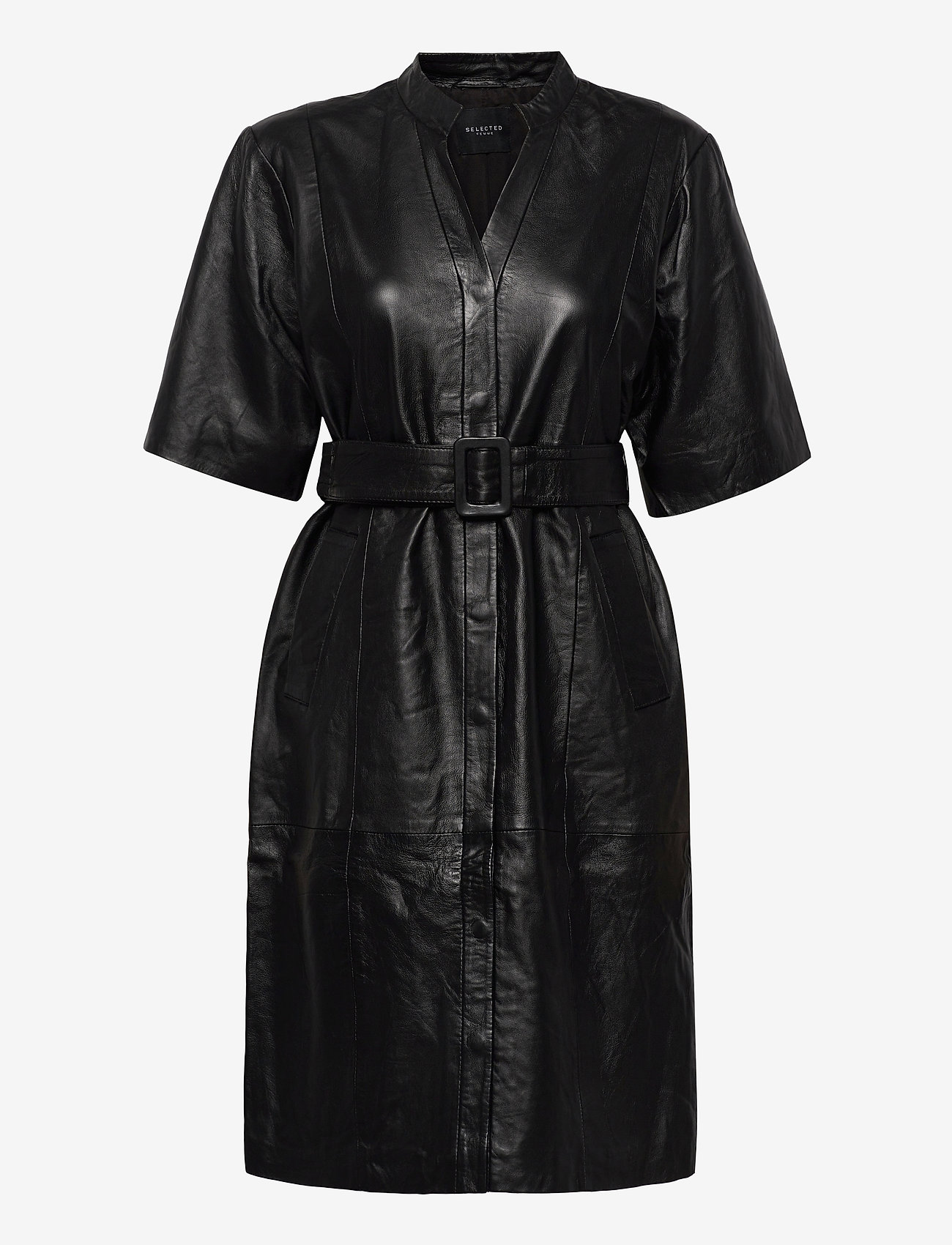 Selected Femme - SLFMARIE BELTED LEATHER DRESS B - midi dresses - black - 0