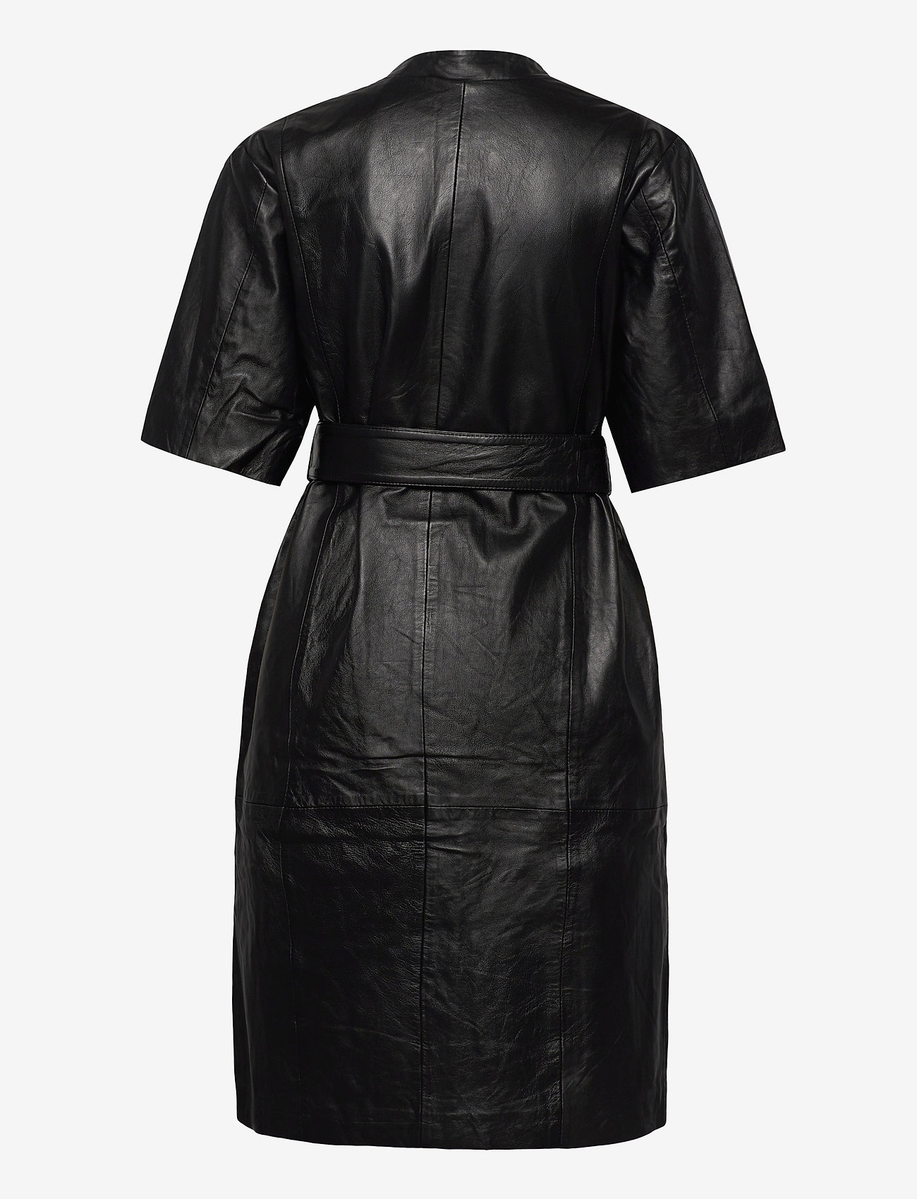Selected Femme - SLFMARIE BELTED LEATHER DRESS B - midi dresses - black - 1