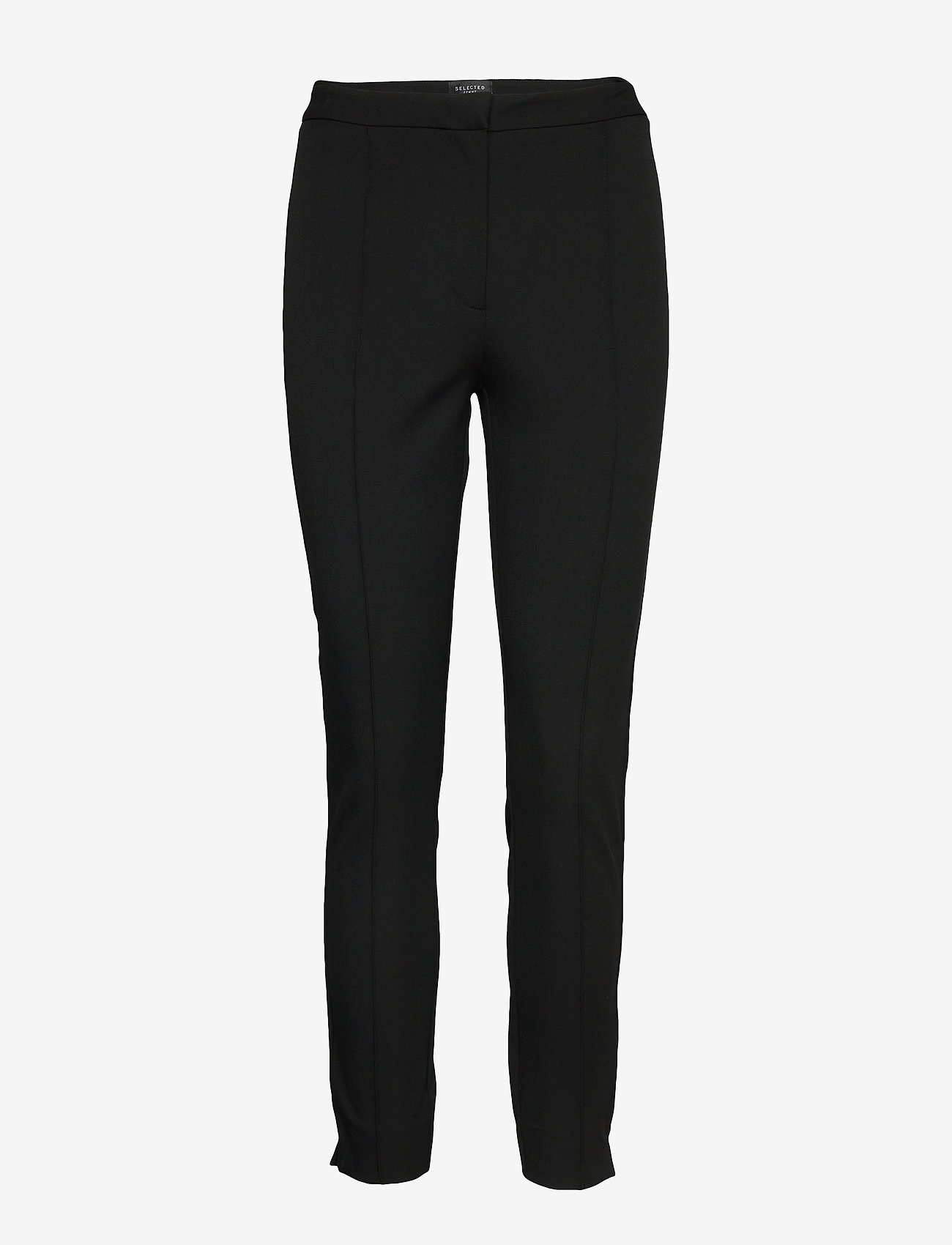 Selected Femme - SLFILUE MW PINTUCK PANT B NOOS - straight leg trousers - black - 0