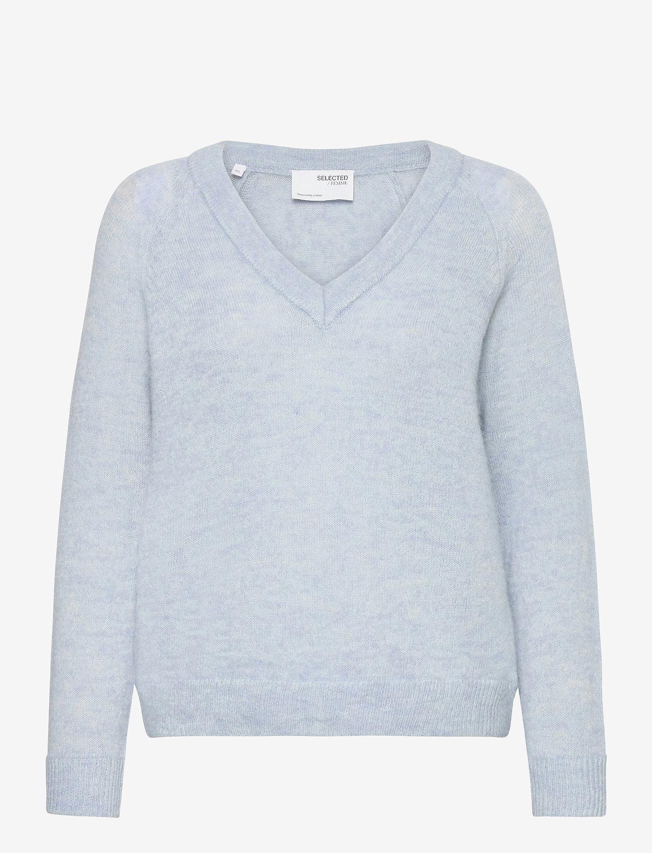 Selected Femme - SLFLULU LS KNIT V-NECK - pullover - cashmere blue - 0