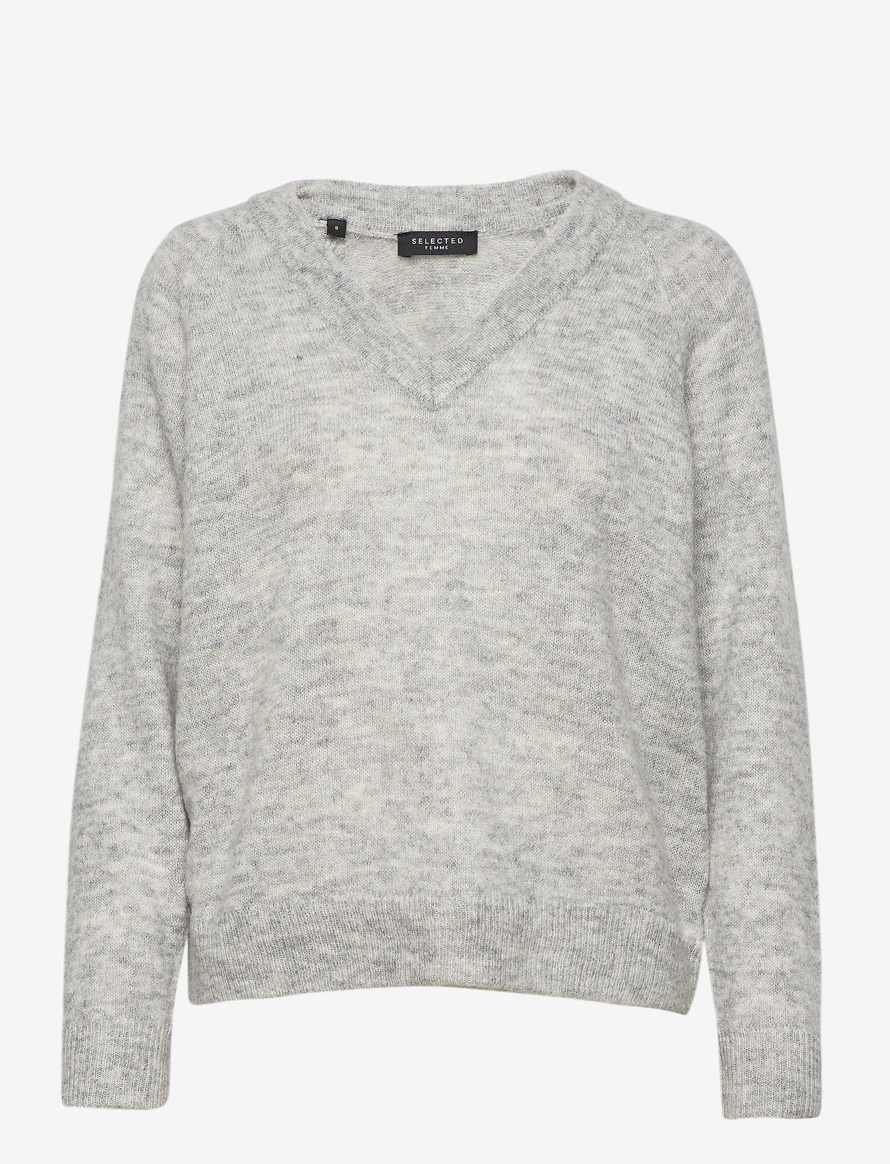 Selected Femme - SLFLULU LS KNIT V-NECK B - tröjor - light grey melange - 0