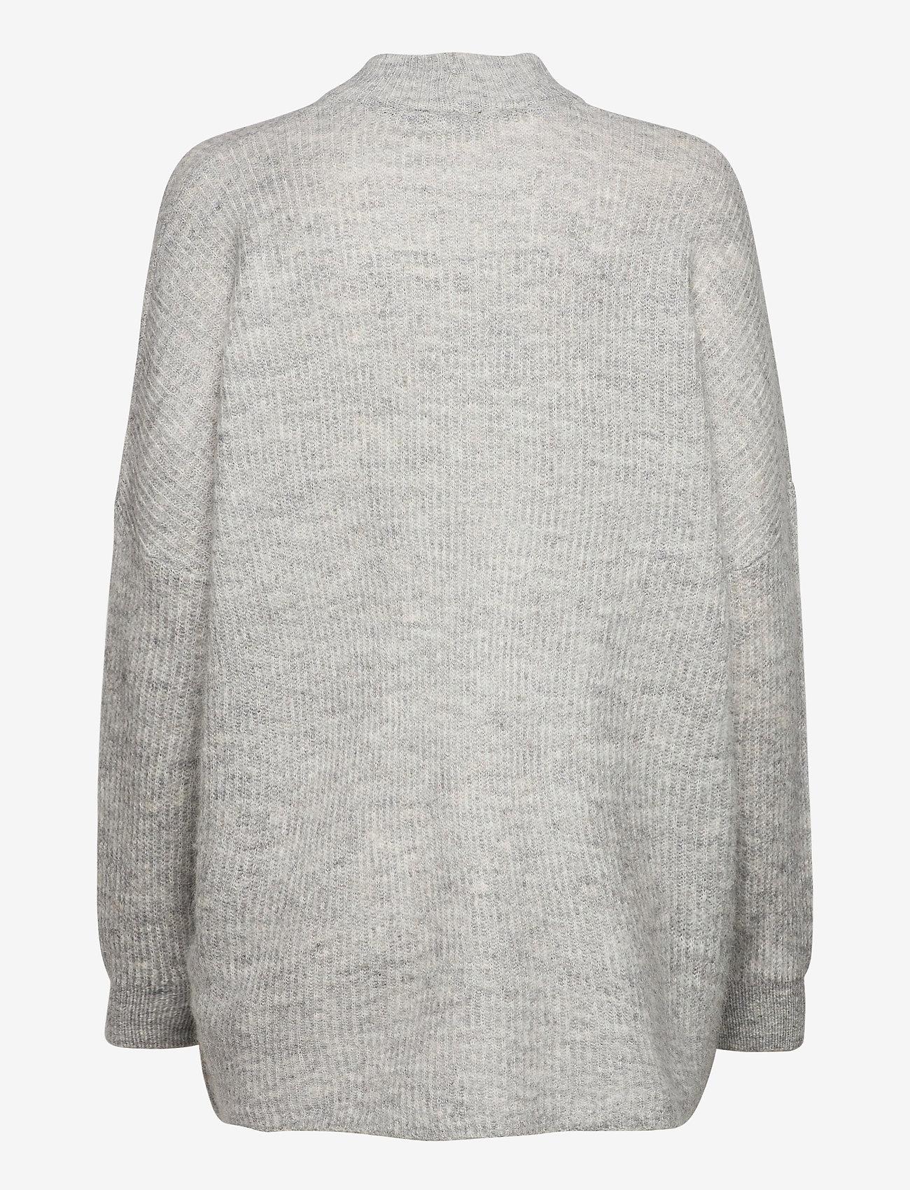 Selected Femme - SLFLULU ENICA LS KNIT O-NECK - truien - light grey melange - 1