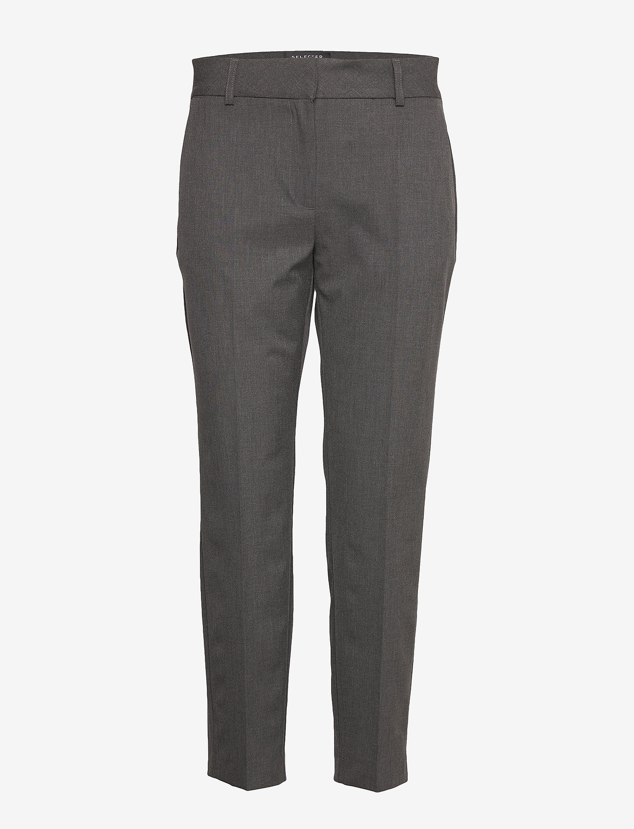 Selected Femme - SLFRIA MW CROPPED PANT DGM B NOOS - straight leg trousers - dark grey melange - 0