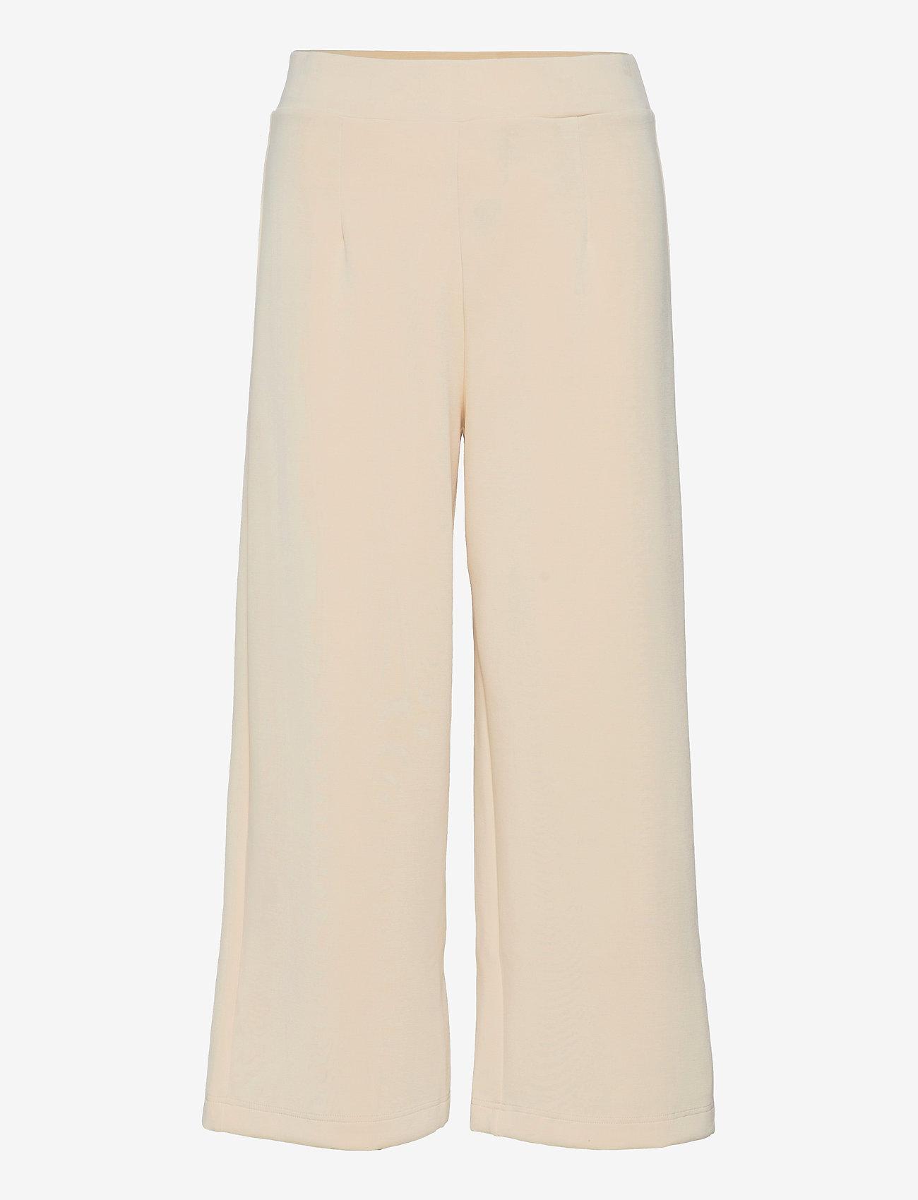 Selected Femme - SLFTENNY MW CROPPED WIDE PANT B - bukser med brede ben - birch - 0