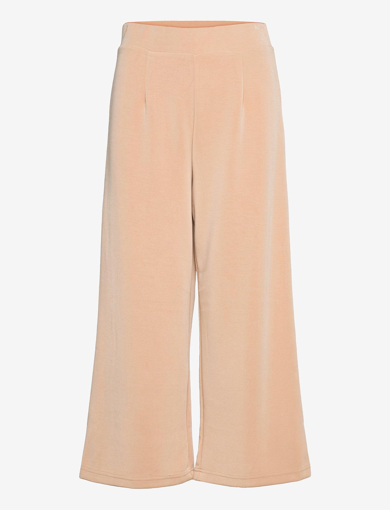 Selected Femme - SLFTENNY MW CROPPED WIDE PANT B - bukser med brede ben - nomad - 0