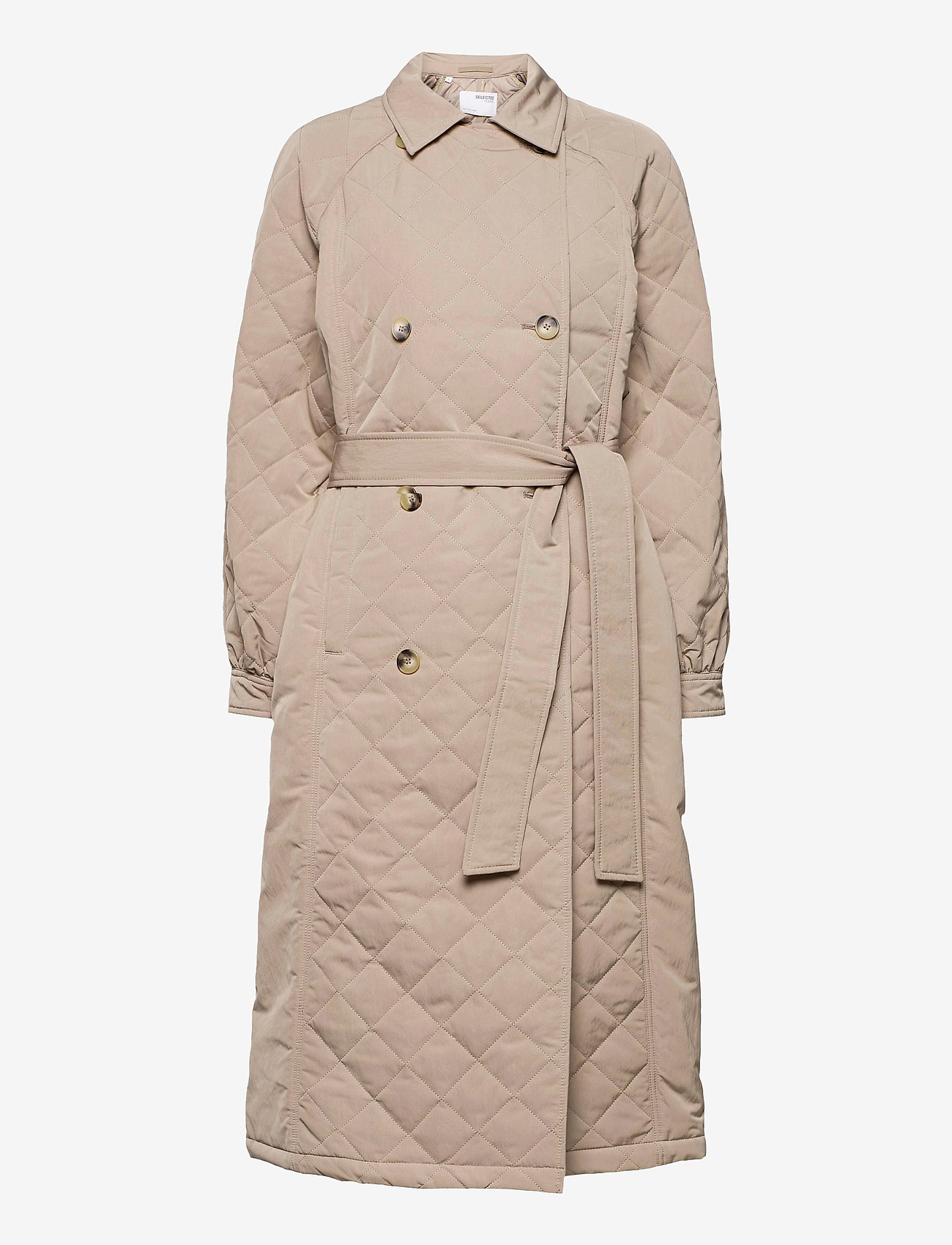 Selected Femme - SLFNINNA QUILTED TRENCHCOAT - trenchcoats - silver mink - 0
