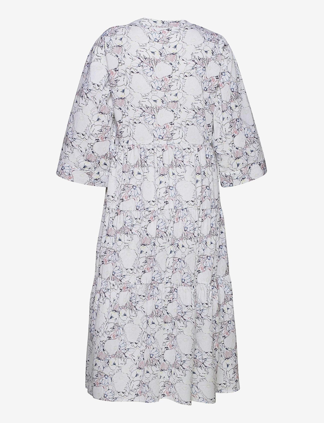 Selected Femme - SLFROSELLA-FLORENTA 3/4 MIDI DRESS B - midi dresses - snow white - 1