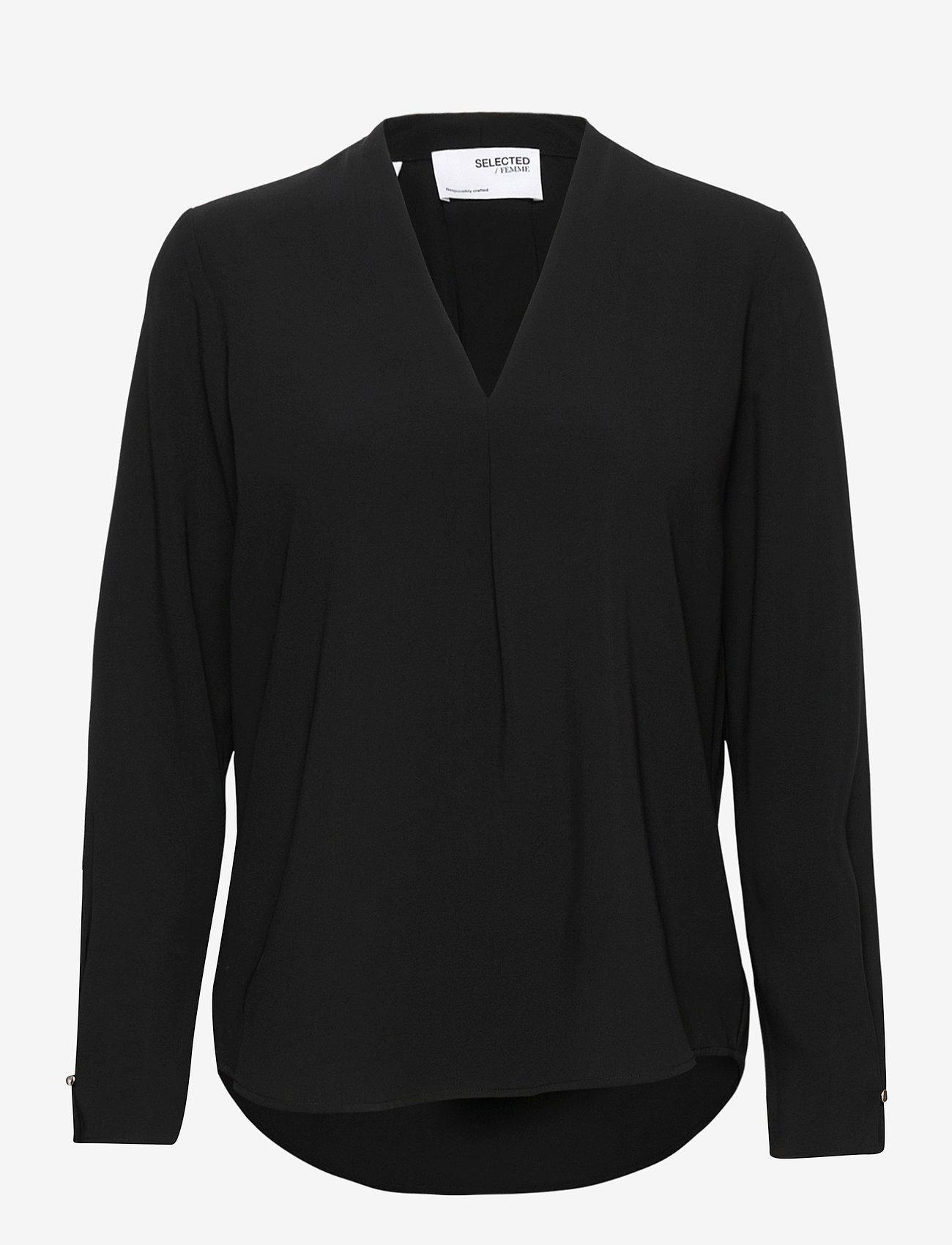 Selected Femme - SLFLUNA LS  TOP NOOS - long sleeved blouses - black - 0
