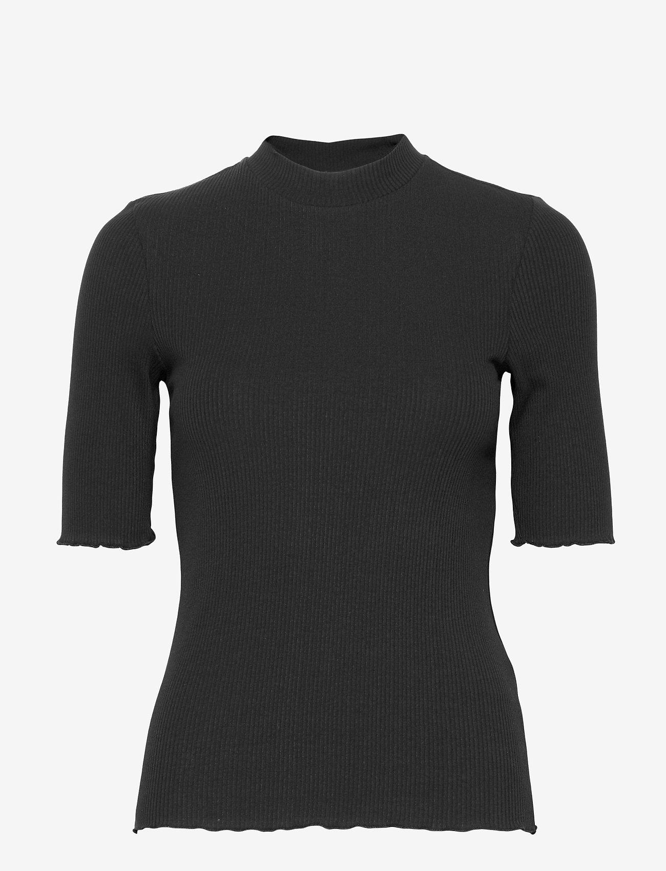 Selected Femme - SLFANNA 2/4 CREW NECK TEE S NOOS - t-shirts - black - 0