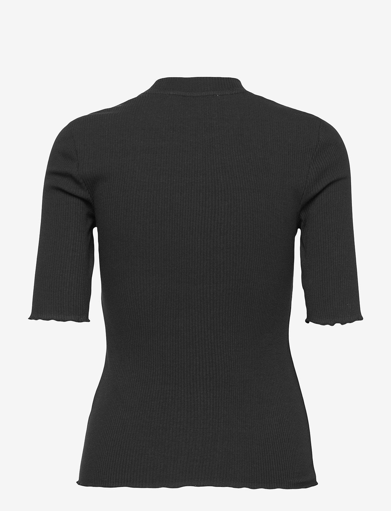 Selected Femme - SLFANNA 2/4 CREW NECK TEE S NOOS - t-shirts - black - 1