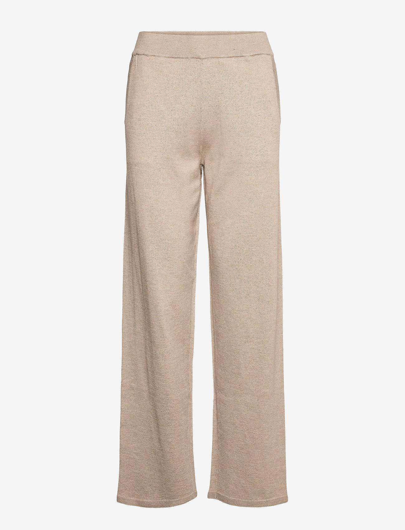 Selected Femme - SLFINKA MW LONG KNIT PANT - sweatpants - sand - 0