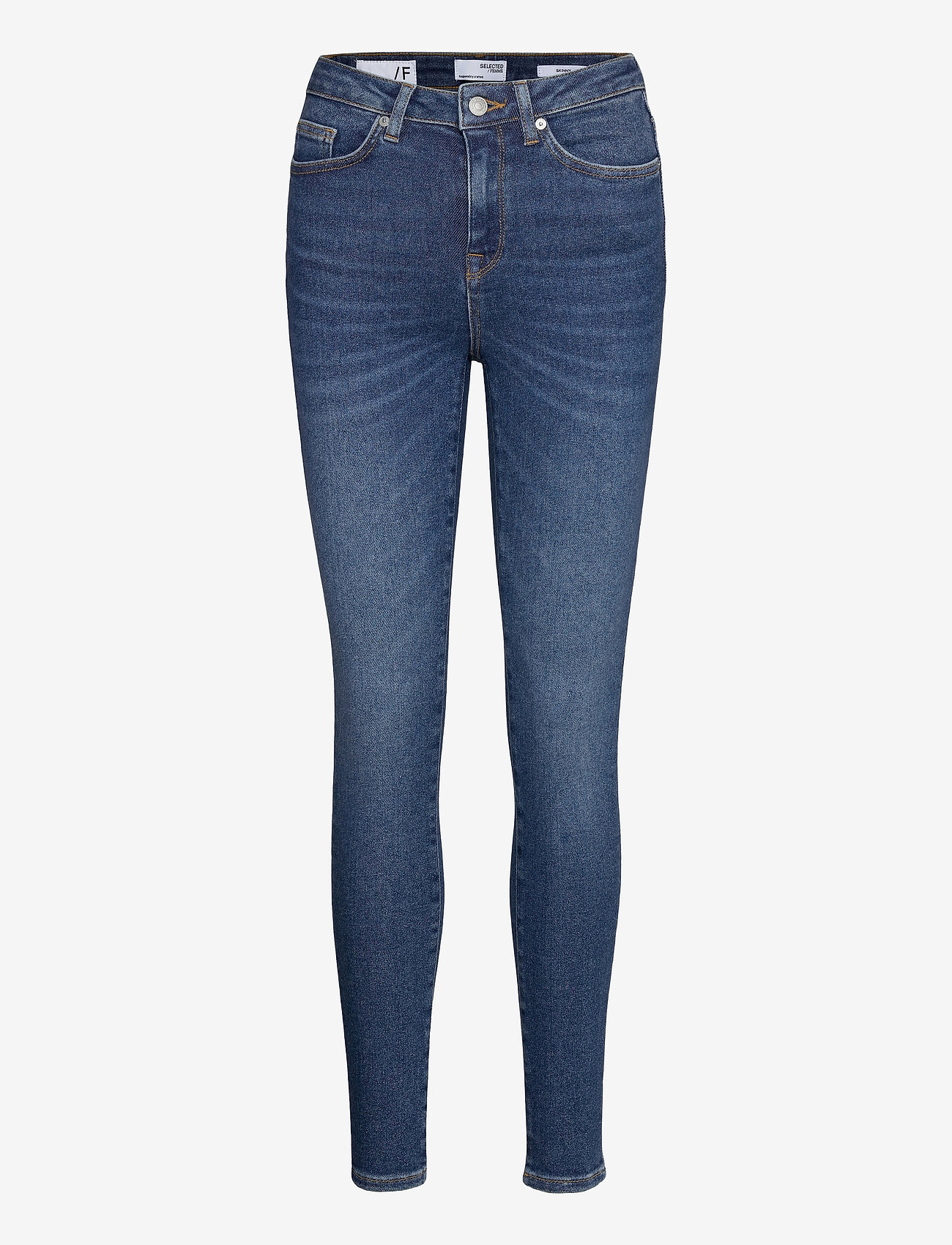 Selected Femme - SLFSOPHIA MW SKINNY DARK BLU JEAN U - skinny jeans - dark blue denim - 0