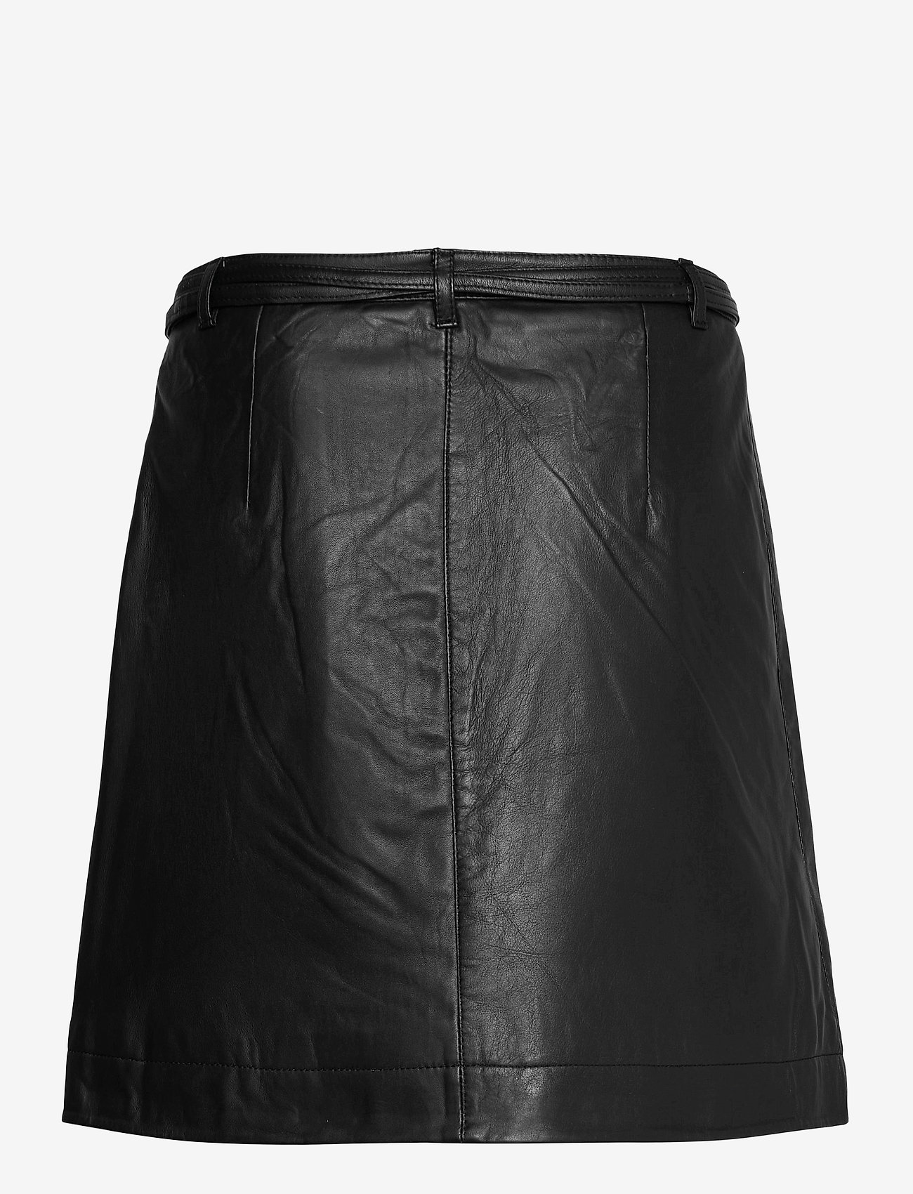 Selected Femme - SLFRALLA MW LEATHER SKIRT W - omlottkjolar - black - 1