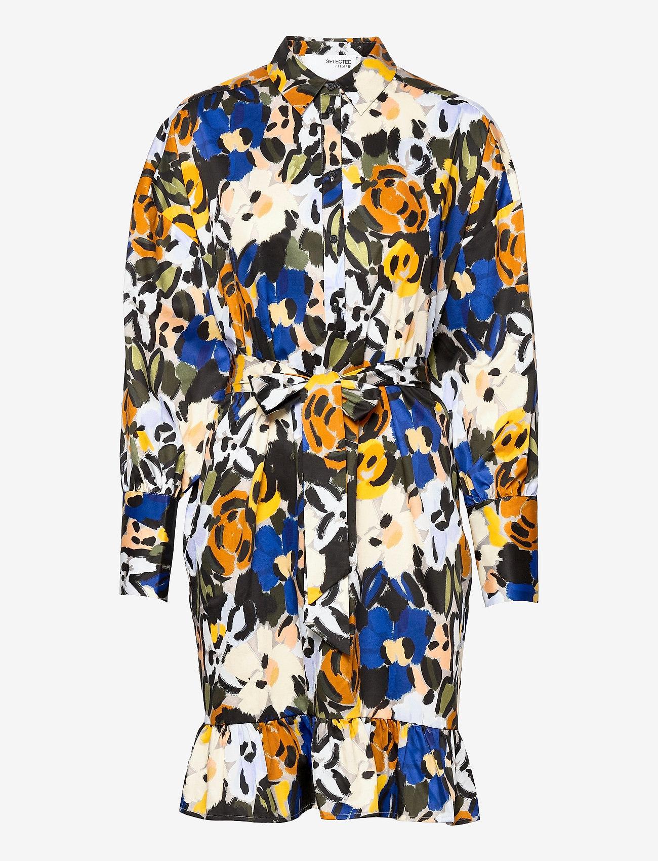 Selected Femme - SLFRONNA-TONIA AOP LS SHORT DRESS B - summer dresses - sudan brown - 0