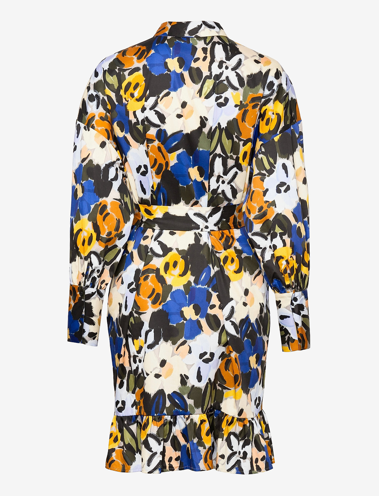 Selected Femme - SLFRONNA-TONIA AOP LS SHORT DRESS B - summer dresses - sudan brown - 1